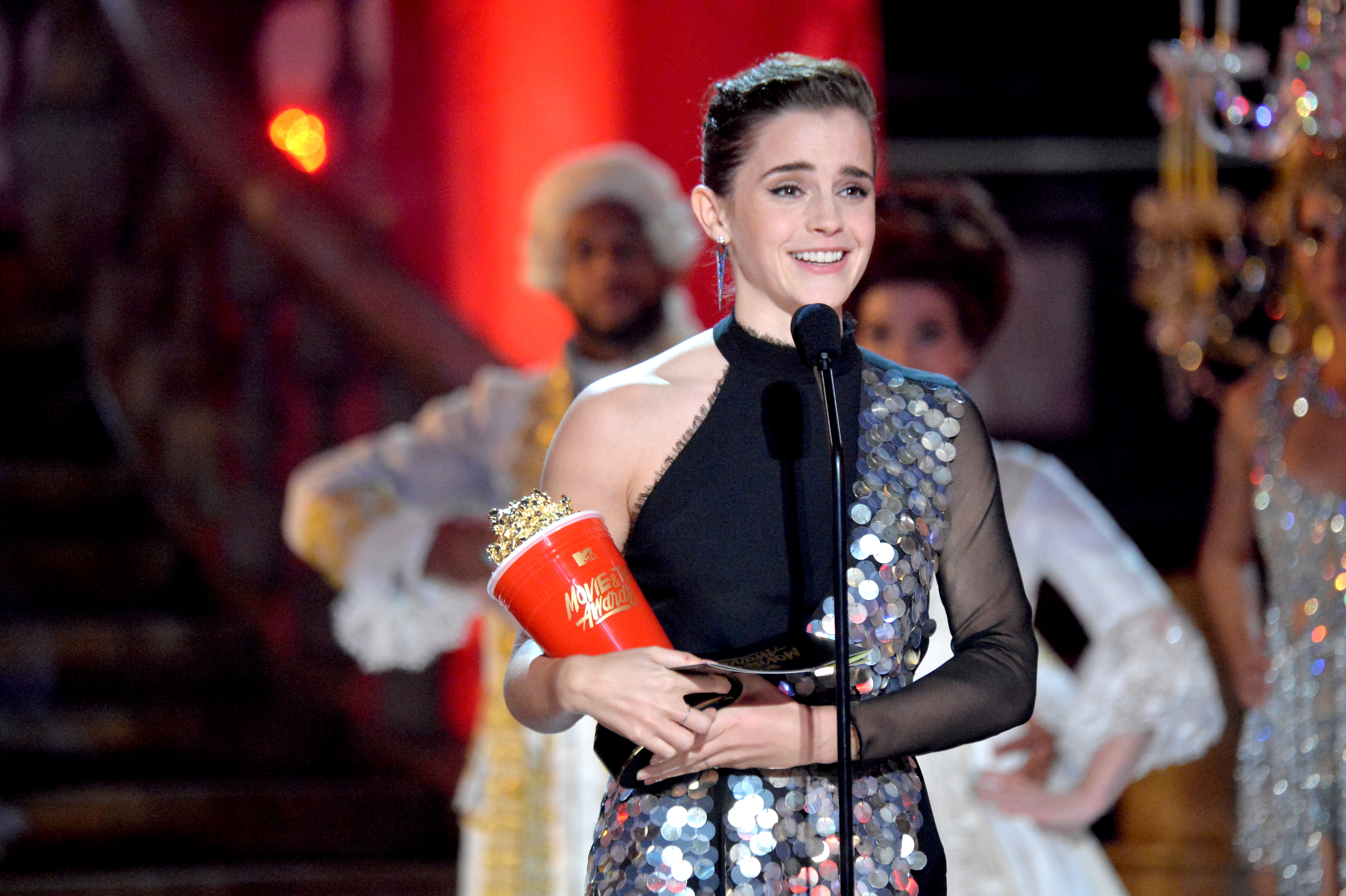 Emma Watson accepts the award for Best Actor in a Movie during the 2017 MTV Movie And TV Awards on May 7, 2017 in Los Angeles, California.