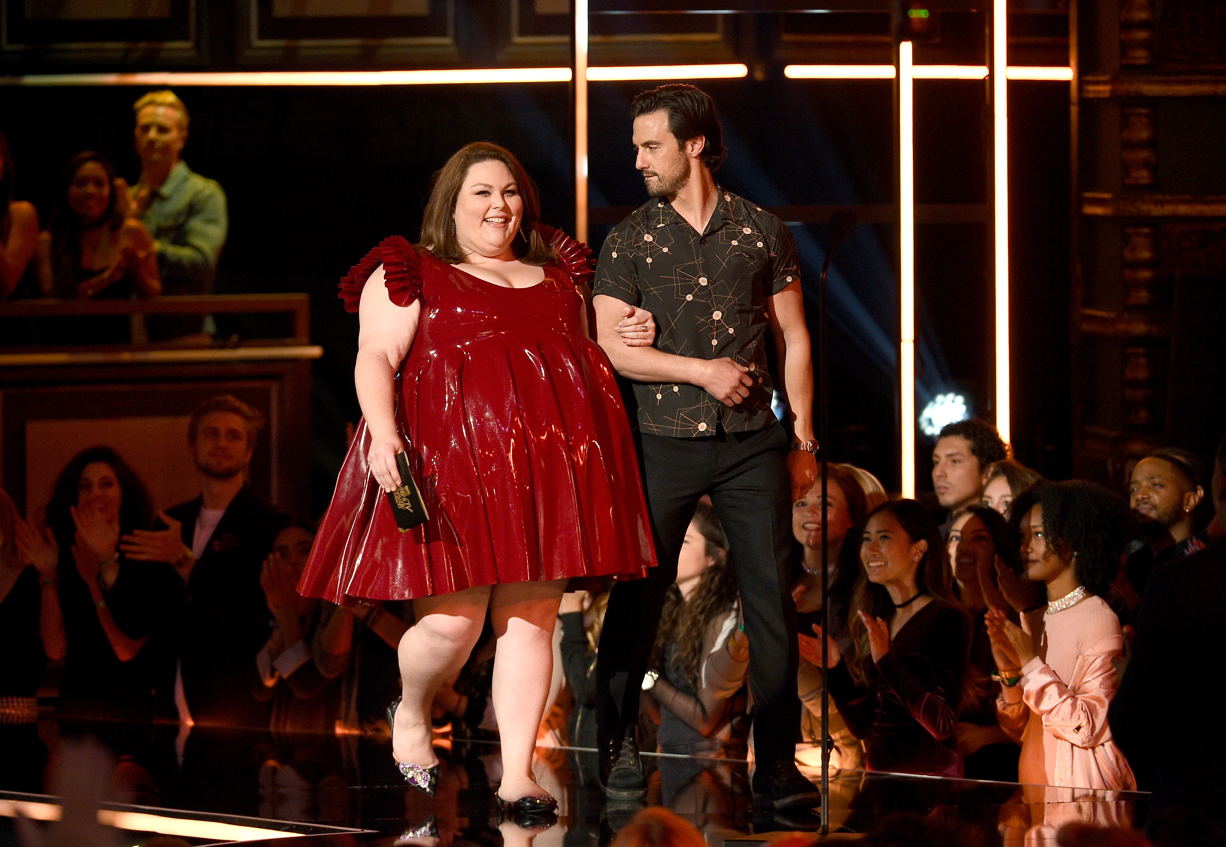 Actors Chrissy Metz and Milo Ventimiglia onstage during the 2017 MTV Movie And TV Awards at The Shrine Auditorium on May 7, 2017 in Los Angeles, California.