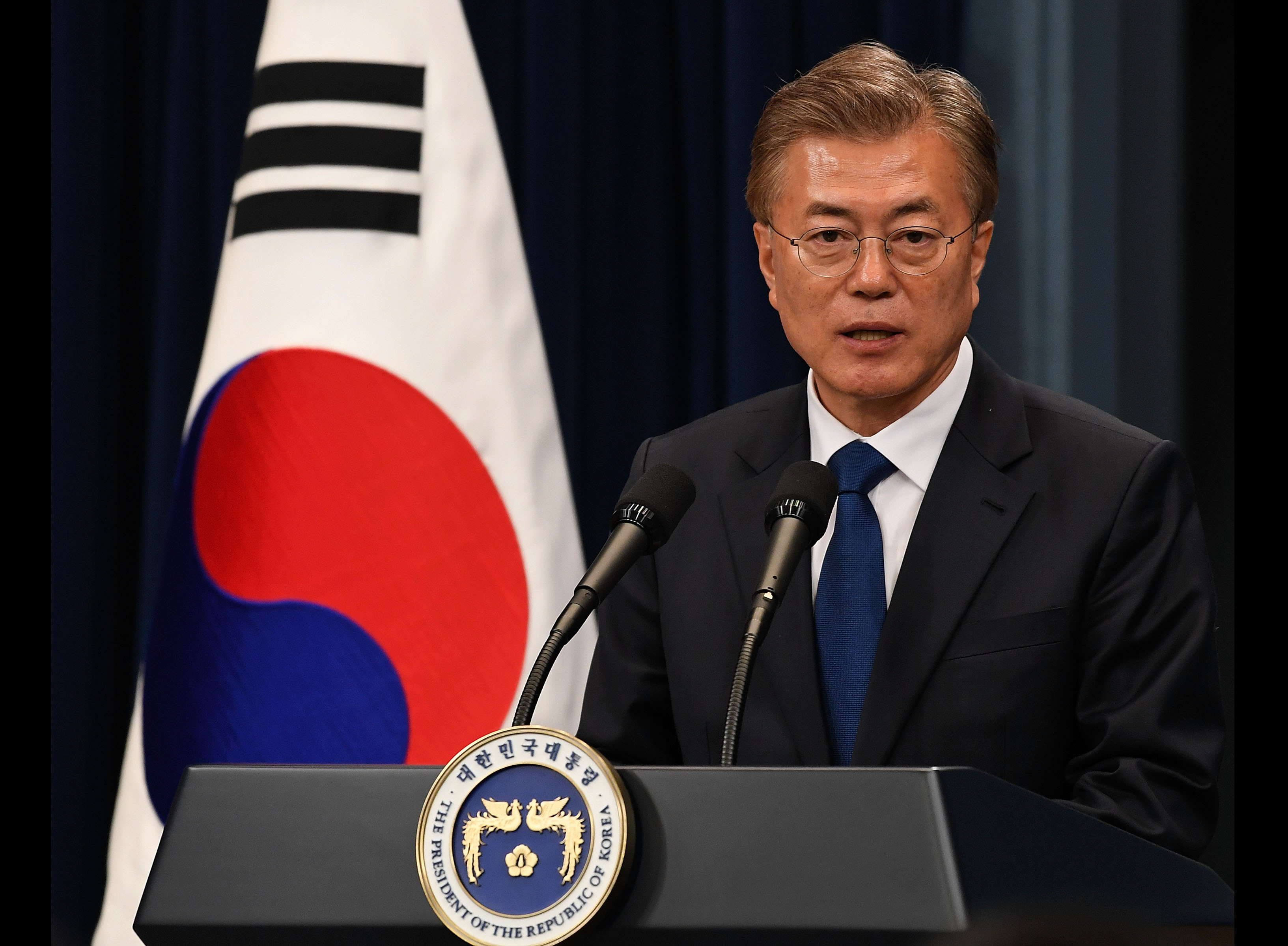 South Korea's new President Moon Jae-In speaks during a press conference at the presidential Blue House on May 10, 2017 in Seoul, South Korea.