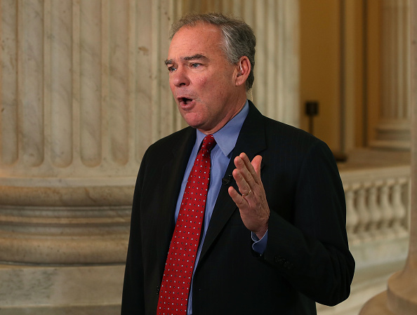 Sen. Tim Kaine (D-VA) speaks on a morning television news show about President Trump's firing yesterday of FBI Director James Comey, on Capitol Hill May 10, 2017 in Washington, DC.