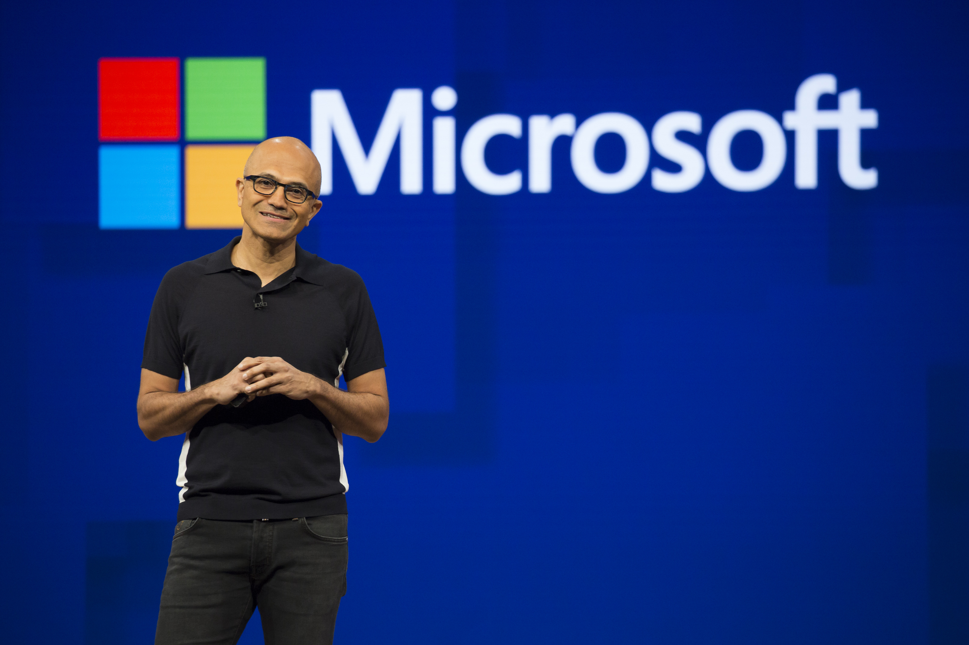 Satya Nadella, chief executive officer of Microsoft Corp., smiles during Microsoft Developers Build Conference in Seattle, Washington, U.S., on Wednesday, May 10, 2017.