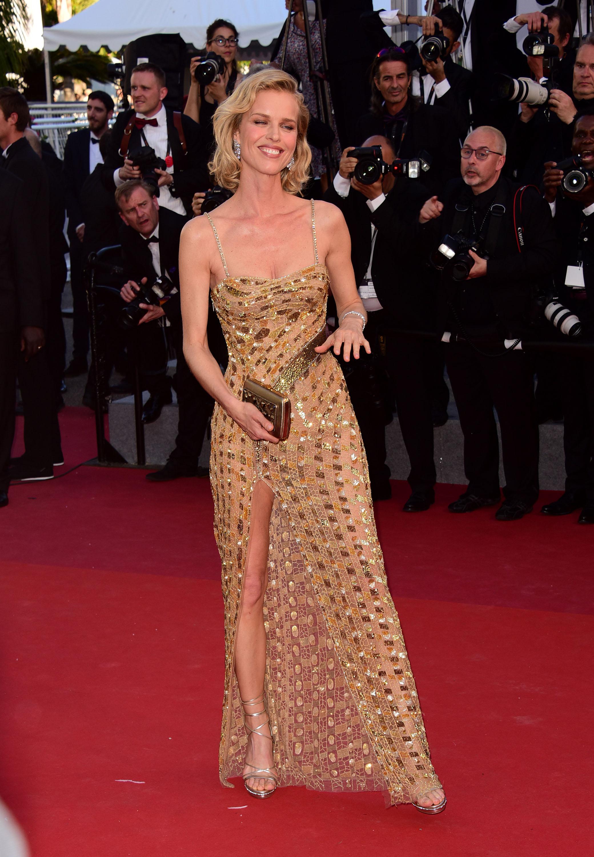 Eva Herzigova in custom Roberto Cavalli Couture