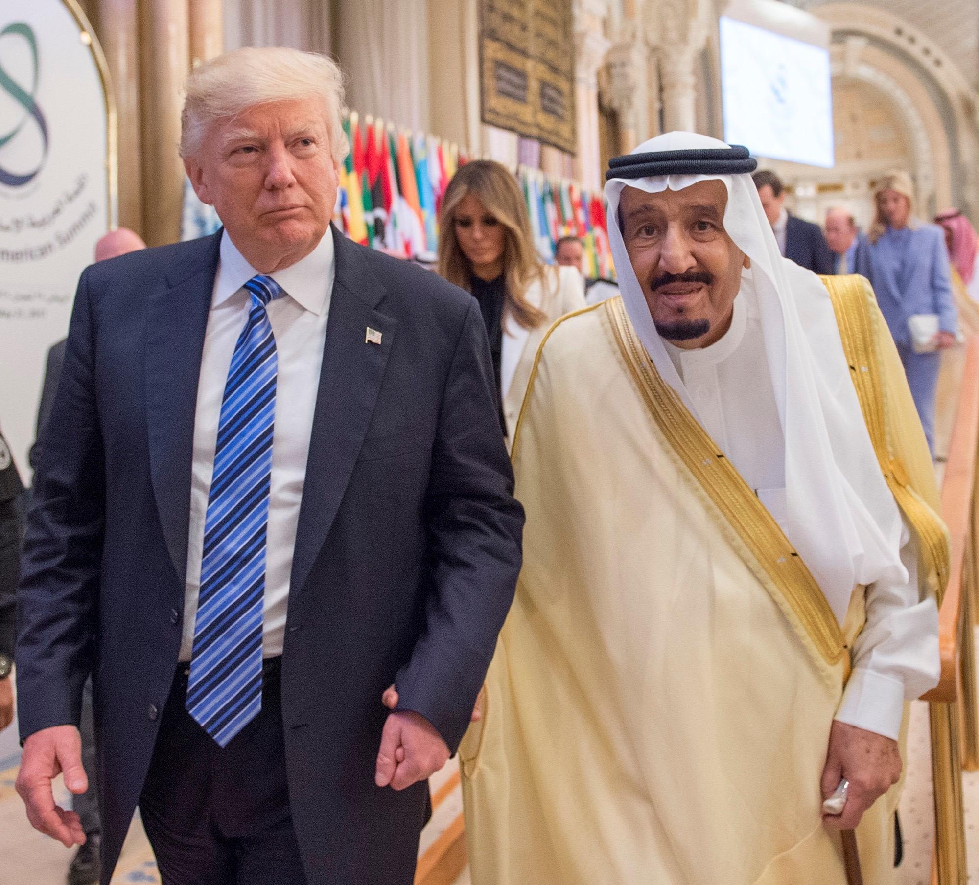 U.S. President Donald Trump (L) and Saudi Arabia's King Salman bin Abdulaziz Al Saud (R) attend the Arabic Islamic American Summit at King Abdul Aziz International Conference Center in Riyadh, Saudi Arabia on May 21, 2017.