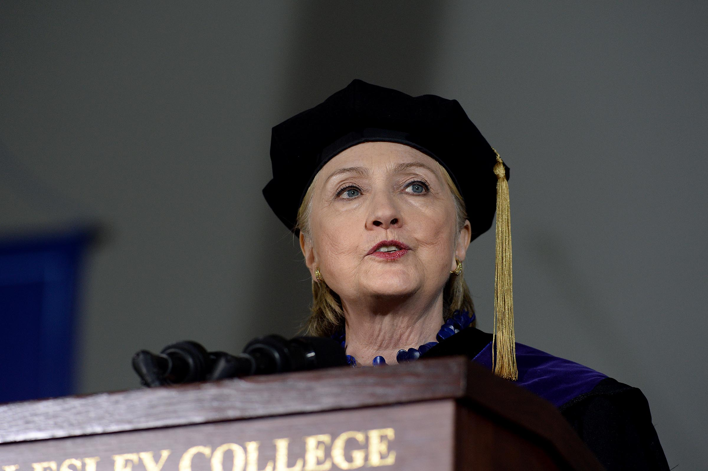 Hillary Clinton speaks at commencement at Wellesley College May 26, 2017 in Wellesley, Massachusetts. Clinton graduated from Wellesley College in 1969.