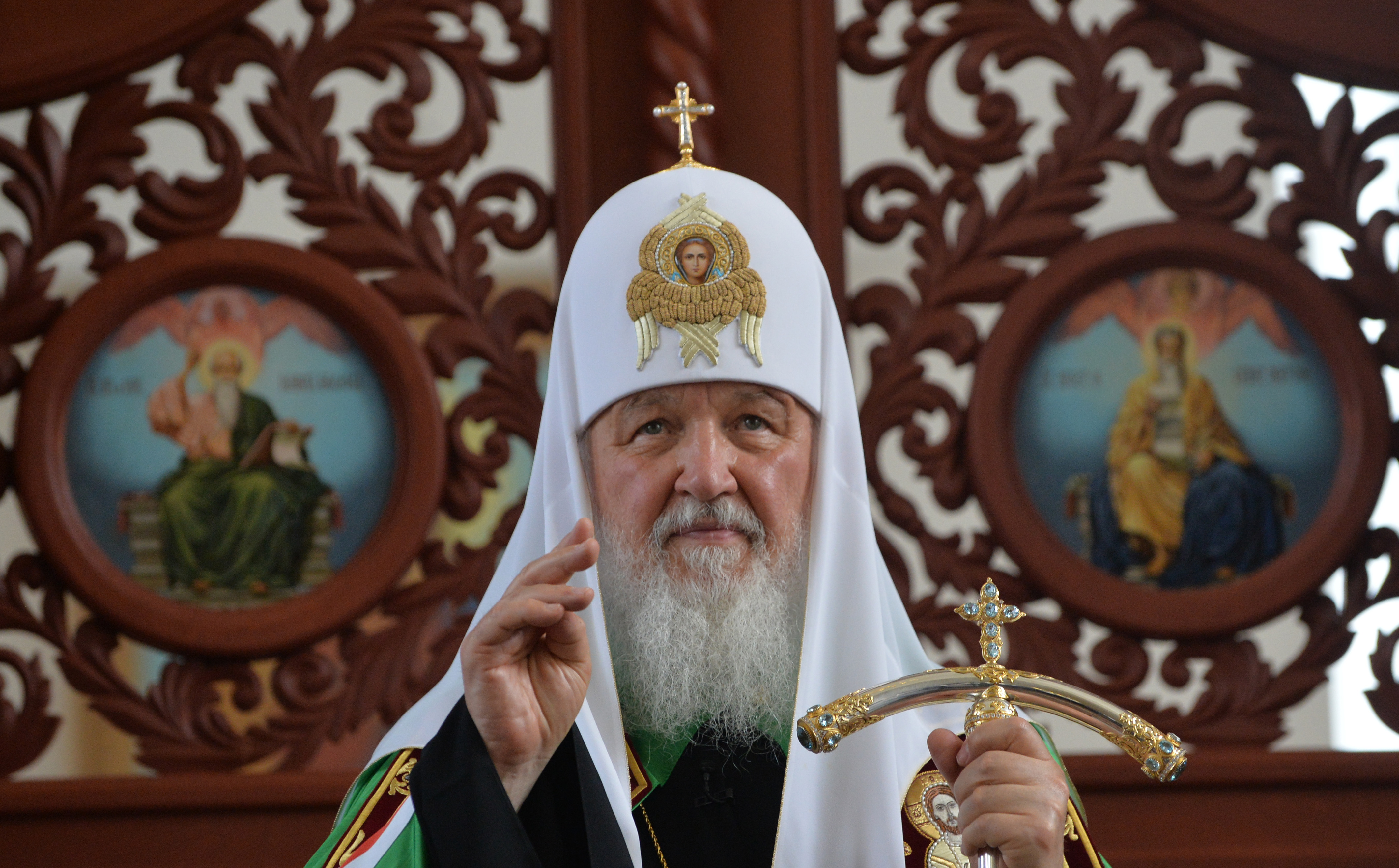Russian Orthodox Patriarch Kirill conducts a service at the Holy Resurrection Cathedral in Bishkek, Kyrgyzstan, on May 28, 2017.