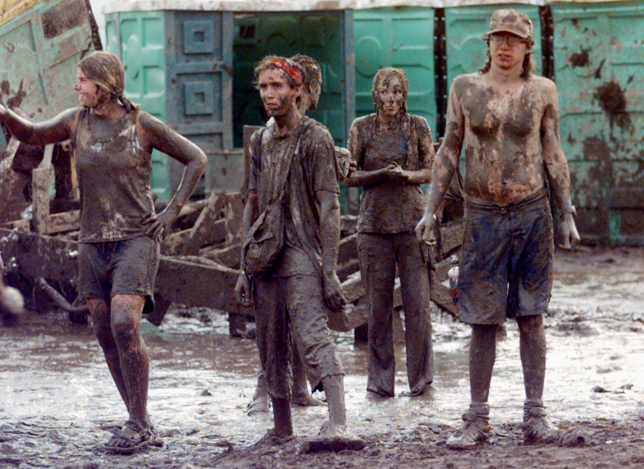 It looks like mudders' day at Woodstock '99, the 30th anniversary of the Woodstock festival, July 23, 1999 at Rome, N.Y.