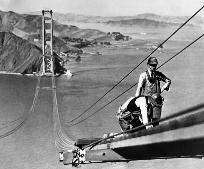 Construction of the Golden Gate bridge in the 1930s.