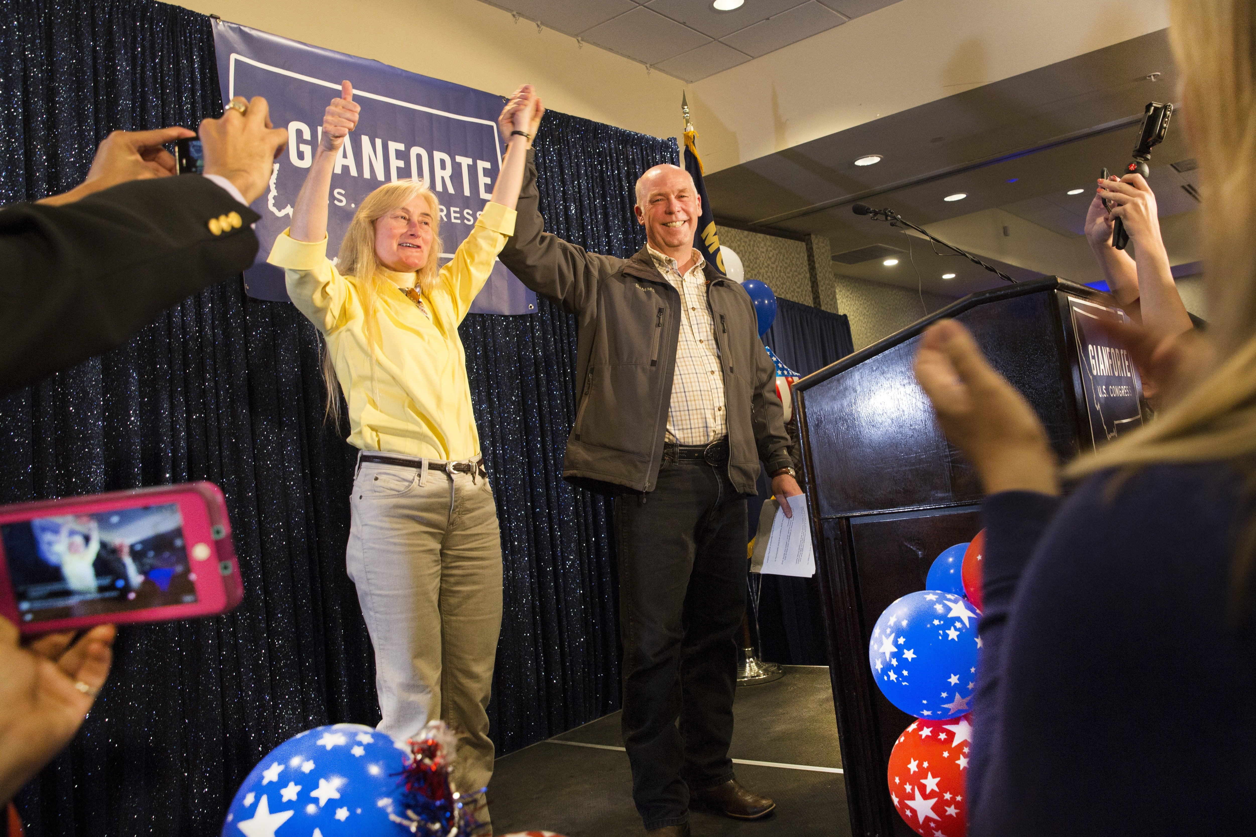 Republican Greg Gianforte celebrates after being declared the winner at an election night party for Montana's special House election, at the Hilton Garden Inn on May 25, 2017 in Bozeman, Montana.