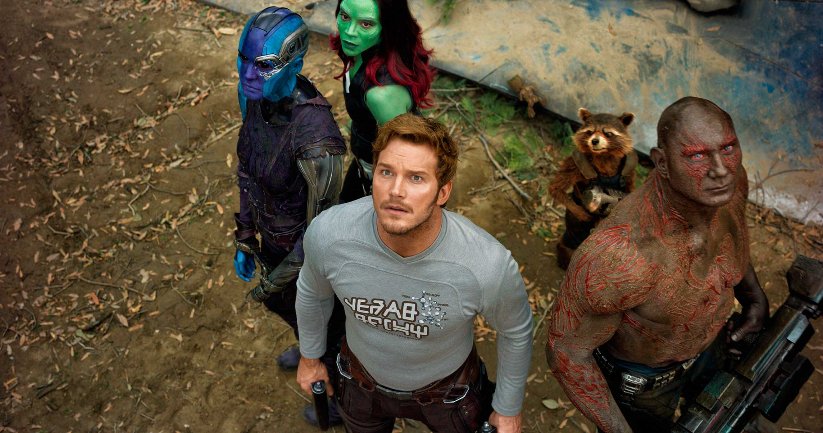 The Guardians gang, with a few new members, proves that more can actually be less.                                           L to R: Nebula (Karen Gillan), Gamora (Zoe Saldana), Star-Lord/Peter Quill (Chris Pratt), Groot (voiced by Vin Diesel), Rocket (voiced by Bradley Cooper) and Drax (Dave Bautista)
