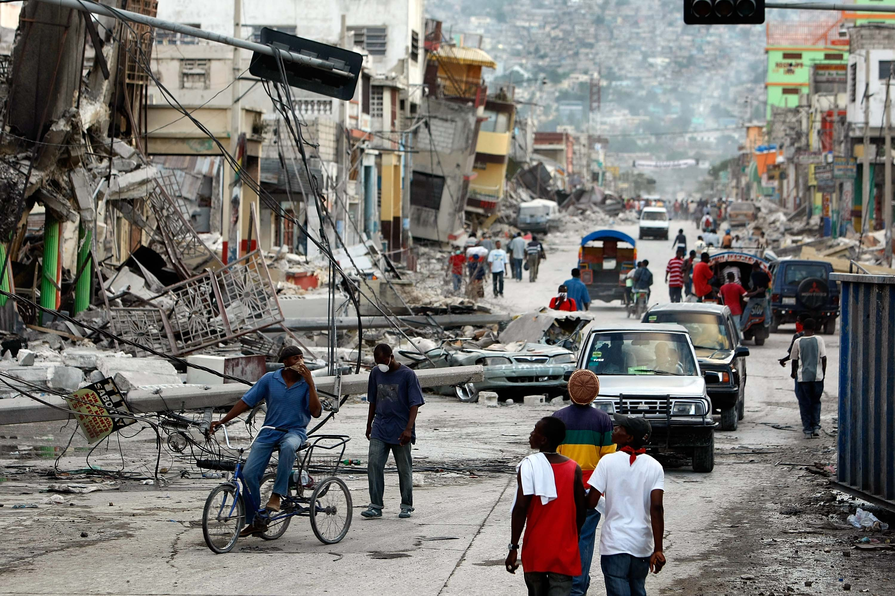 Destroyed buildings are seen after the massive earthquake Jon 16, 2010 in Port-au-Prince, Haiti.