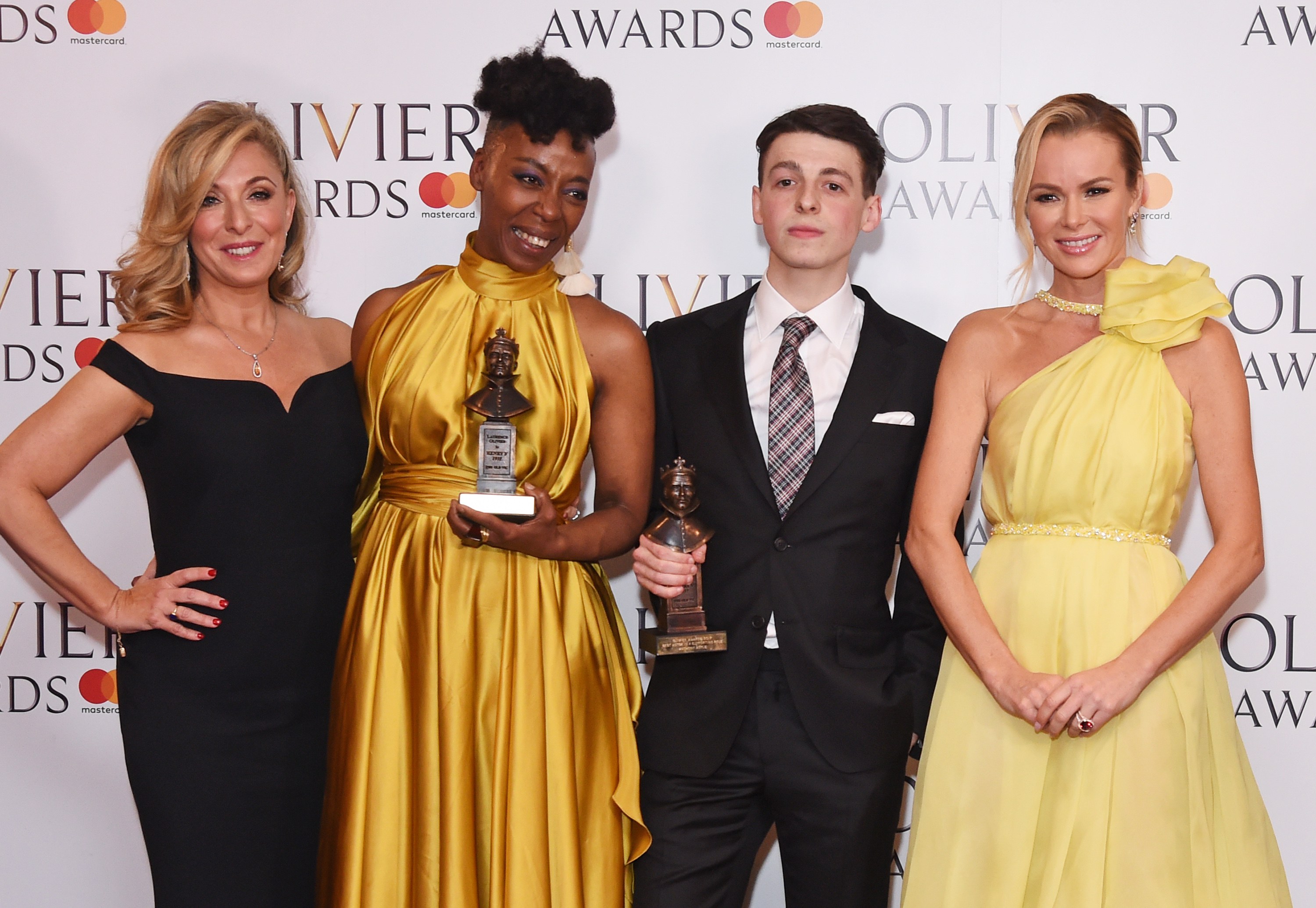 (L to R) Tracy-Ann Oberman, Noma Dumezweni, winner of the Best Actress in a Supporting Role for  Harry Potter And The Cursed Child , Anthony Boyle, winner of the Best Actor in a Supporting Role award for  Harry Potter And The Cursed Child , and Amanda Holden pose in the winners room at The Olivier Awards 2017 at Royal Albert Hall on April 9, 2017 in London.