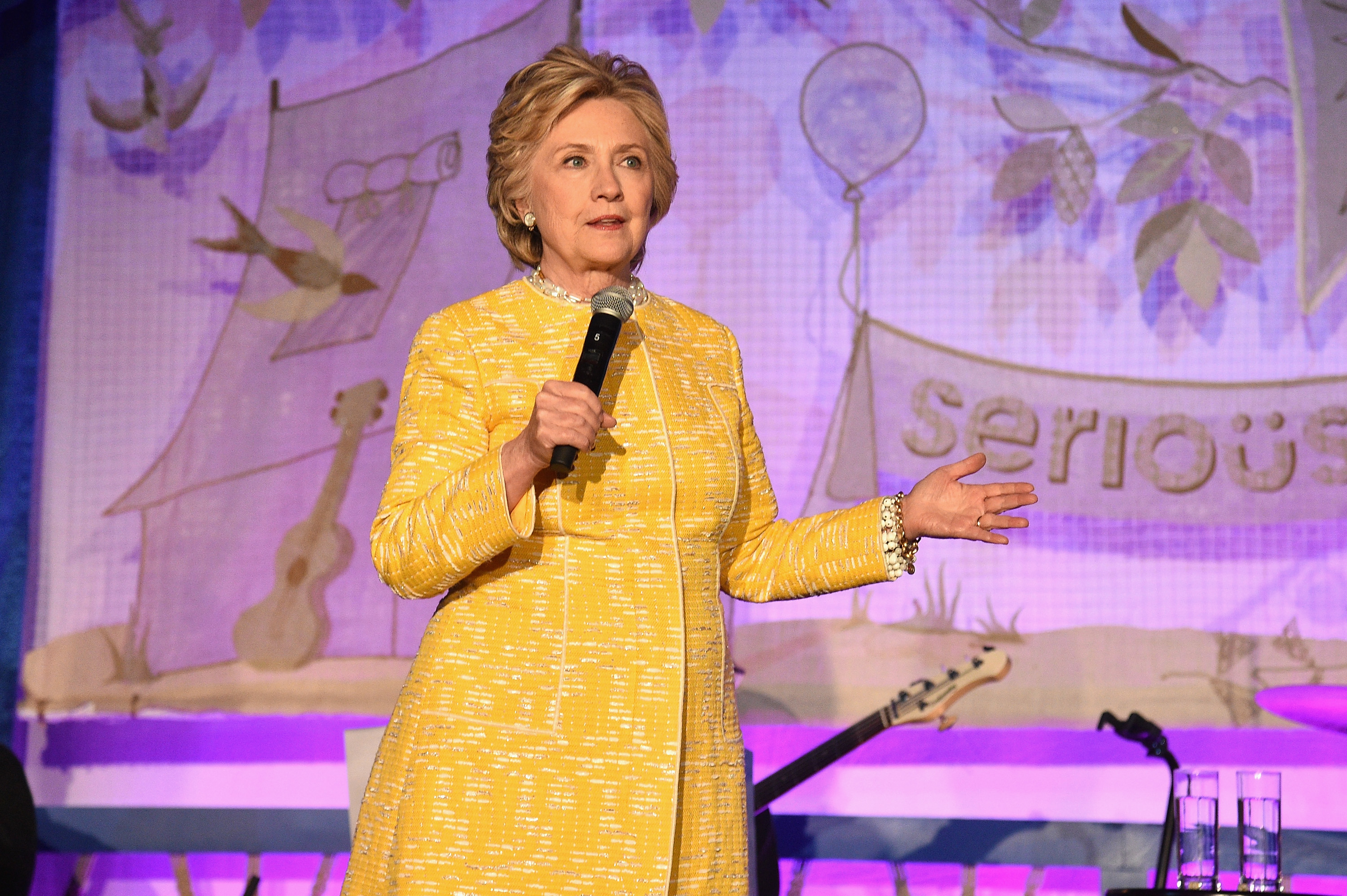Former U.S. Secretary of State Hillary Clinton speaks onstage during the SeriousFun Children's Network Gala at Pier 60 on May 23, 2017 in New York City.