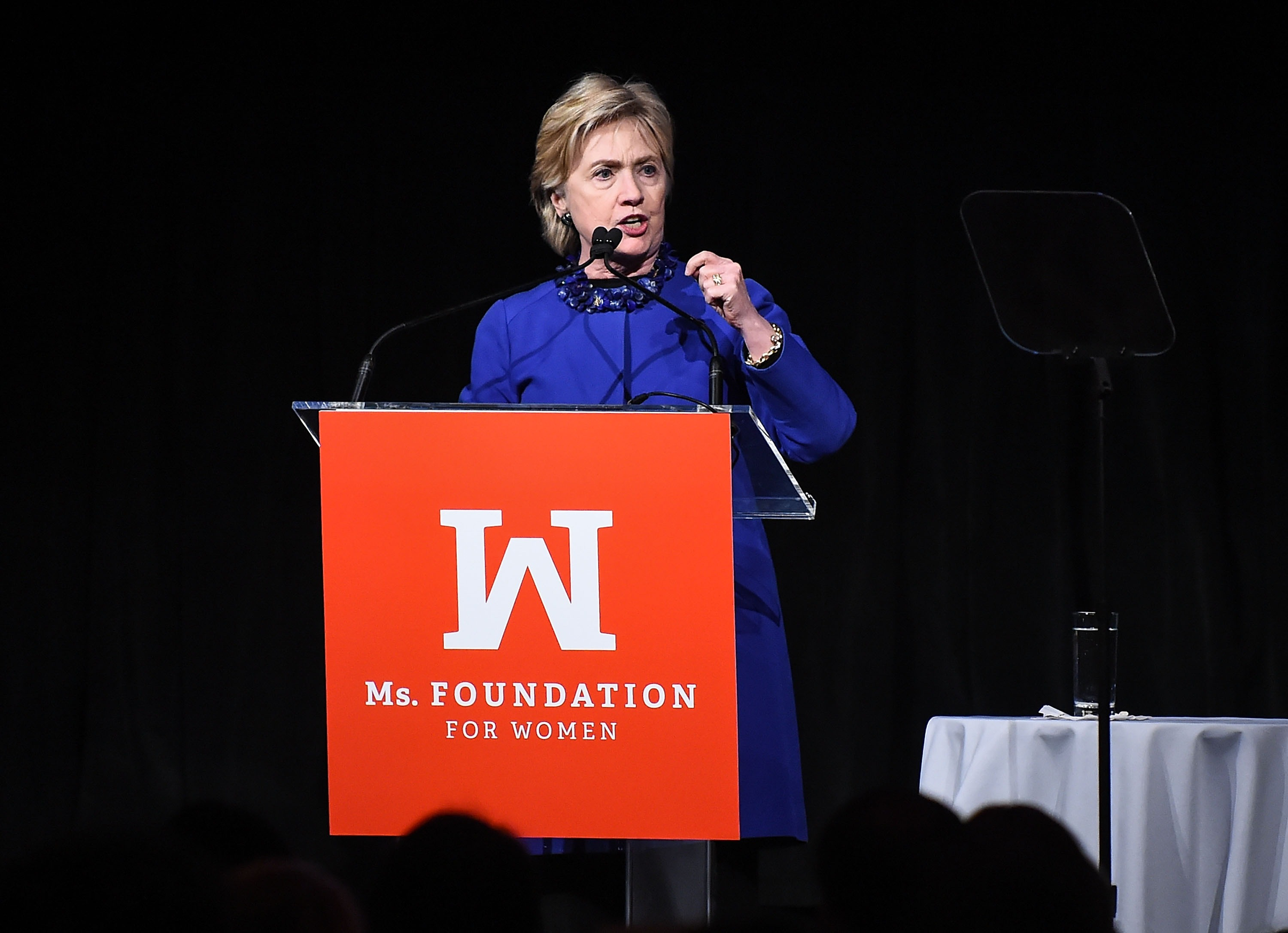 Former US Secretary of State Hillary Clinton speaks onstage at the Ms. Foundation for Women 2017 Gloria Awards Gala at Capitale on May 3, 2017 in New York City.