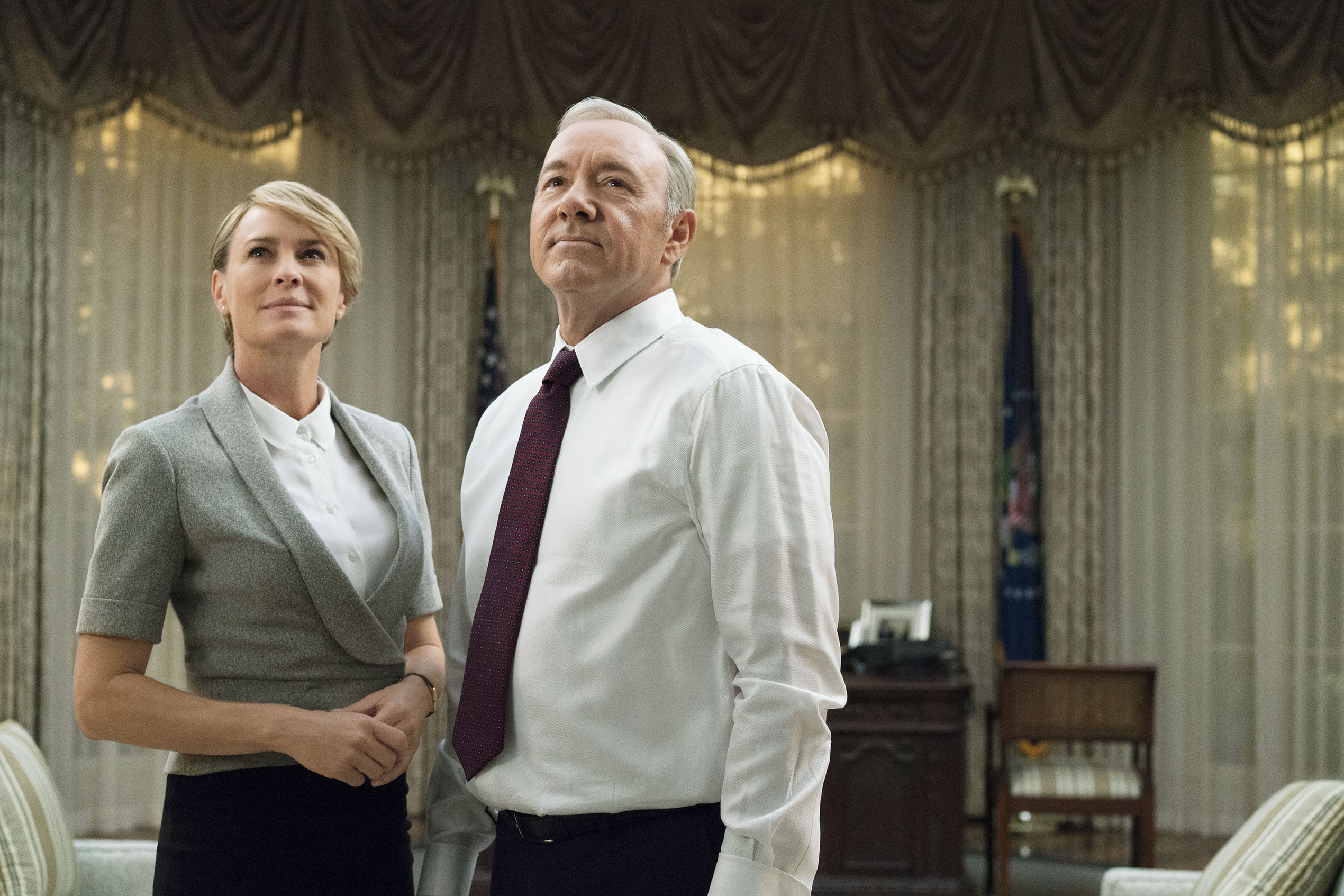 Power couple: Robin Wright and Spacey as running mates
