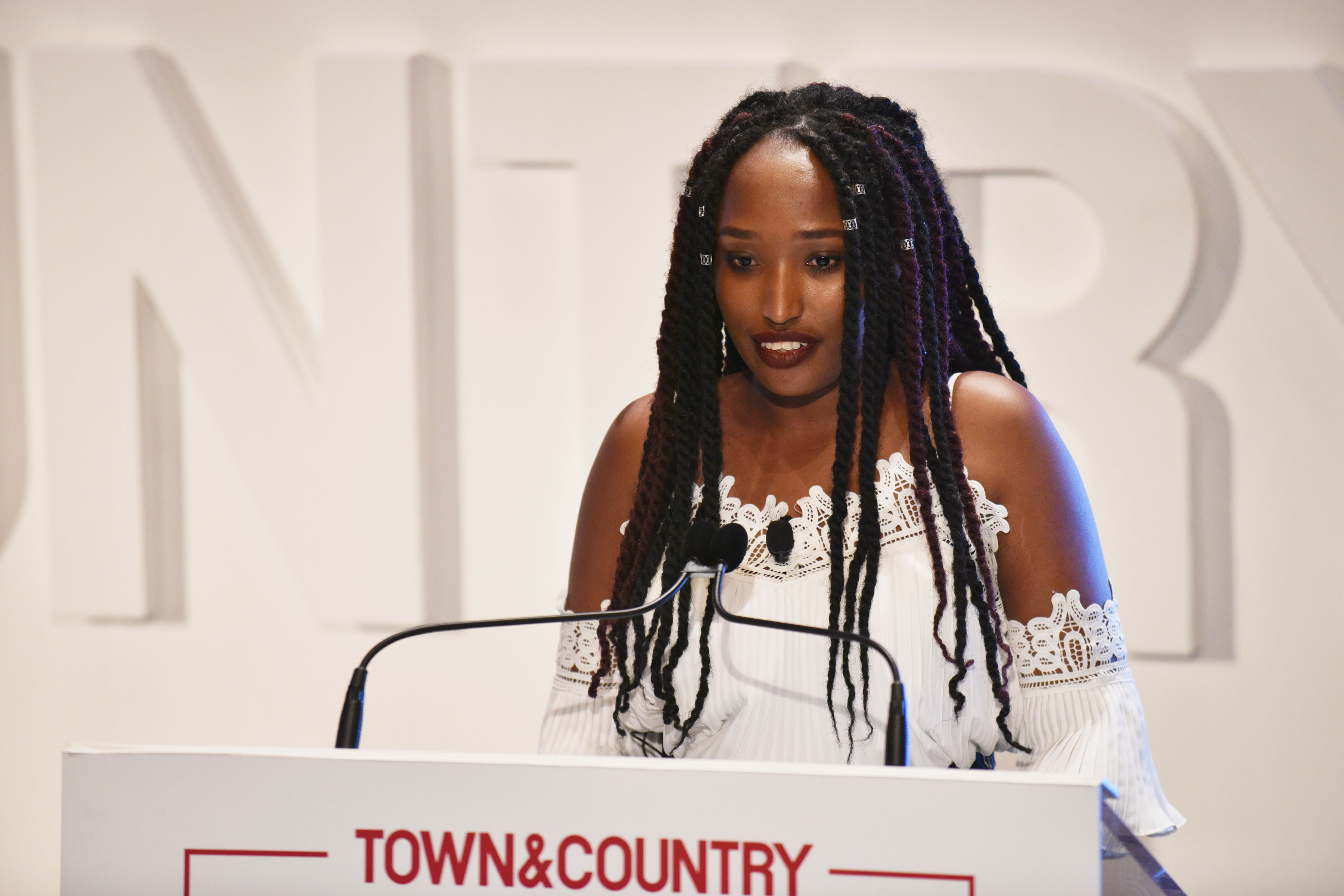 NEW YORK, NY - MAY 09:  Co-Founder of the Jimbere Fund Sandra Uwiringiyimana speaks onstage during the 4th Annual Town & Country Philanthropy Summit at Hearst Tower on May 9, 2017 in New York City.  (Photo by Bryan Bedder/Getty Images for Town & Country)