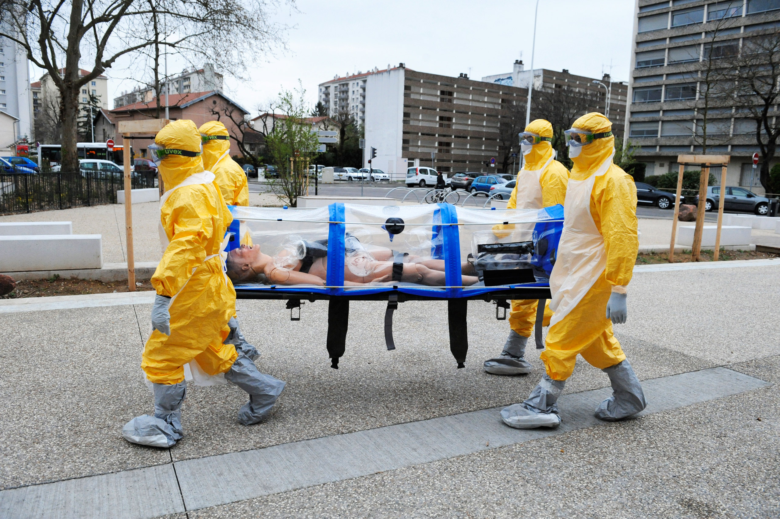 A dummy body is transported during an Ebola drill in Lyon, France, in 2015
