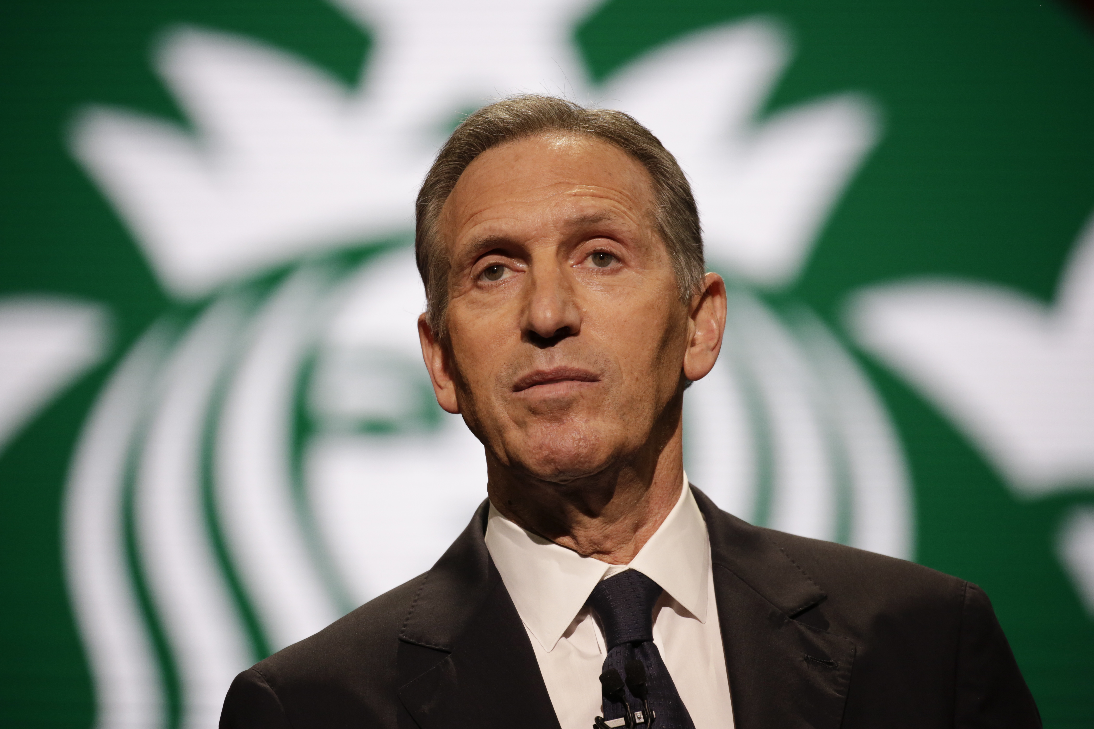 Starbucks Chairman and CEO Howard Schultz speaks at the annual meeting of shareholders in Seattle, Washington on March 22, 2017. Jason Redmond—AFP/Getty Images