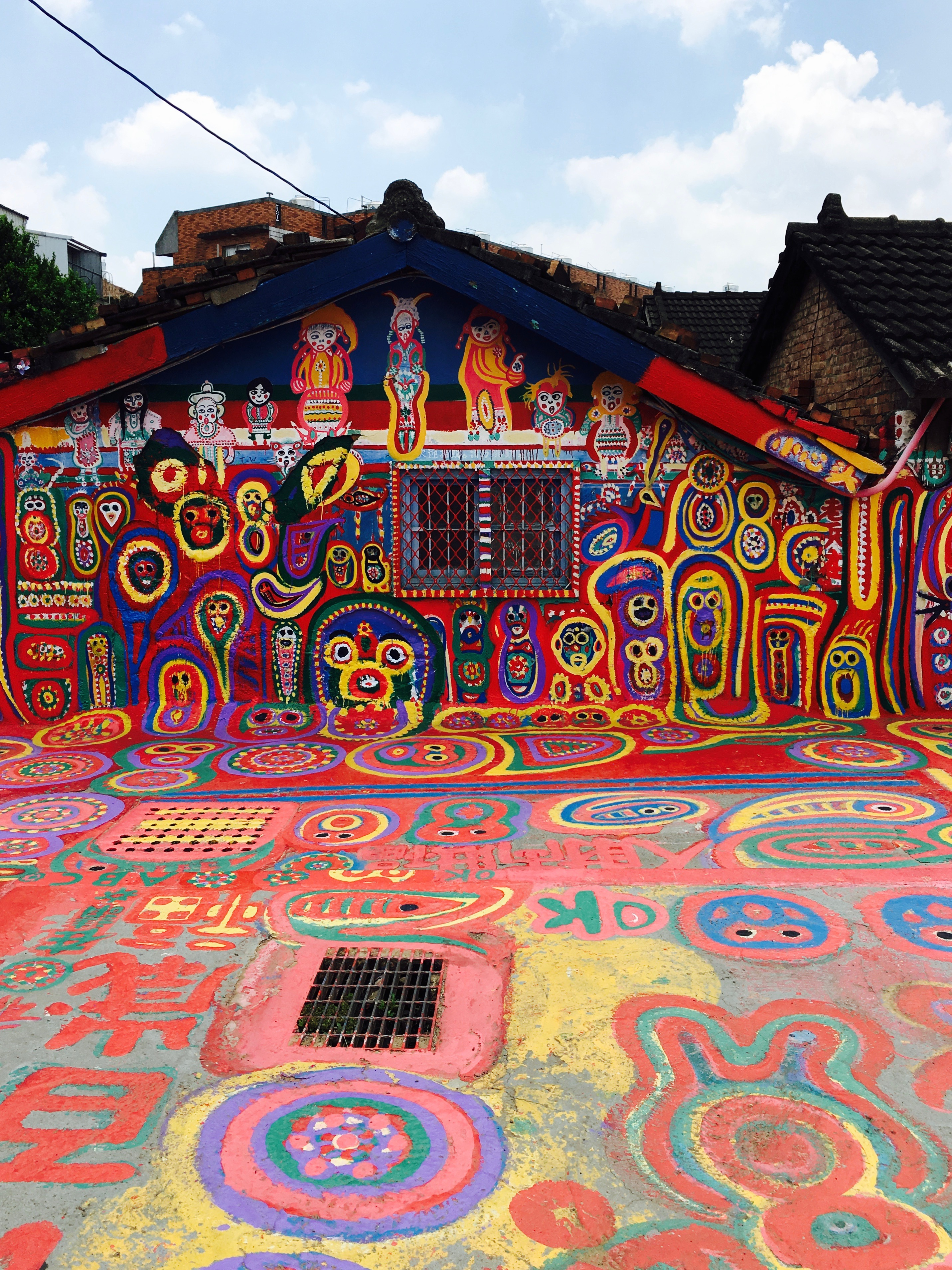A house painted in vibrant colors in Taichung's Rainbow Village, July 2016.