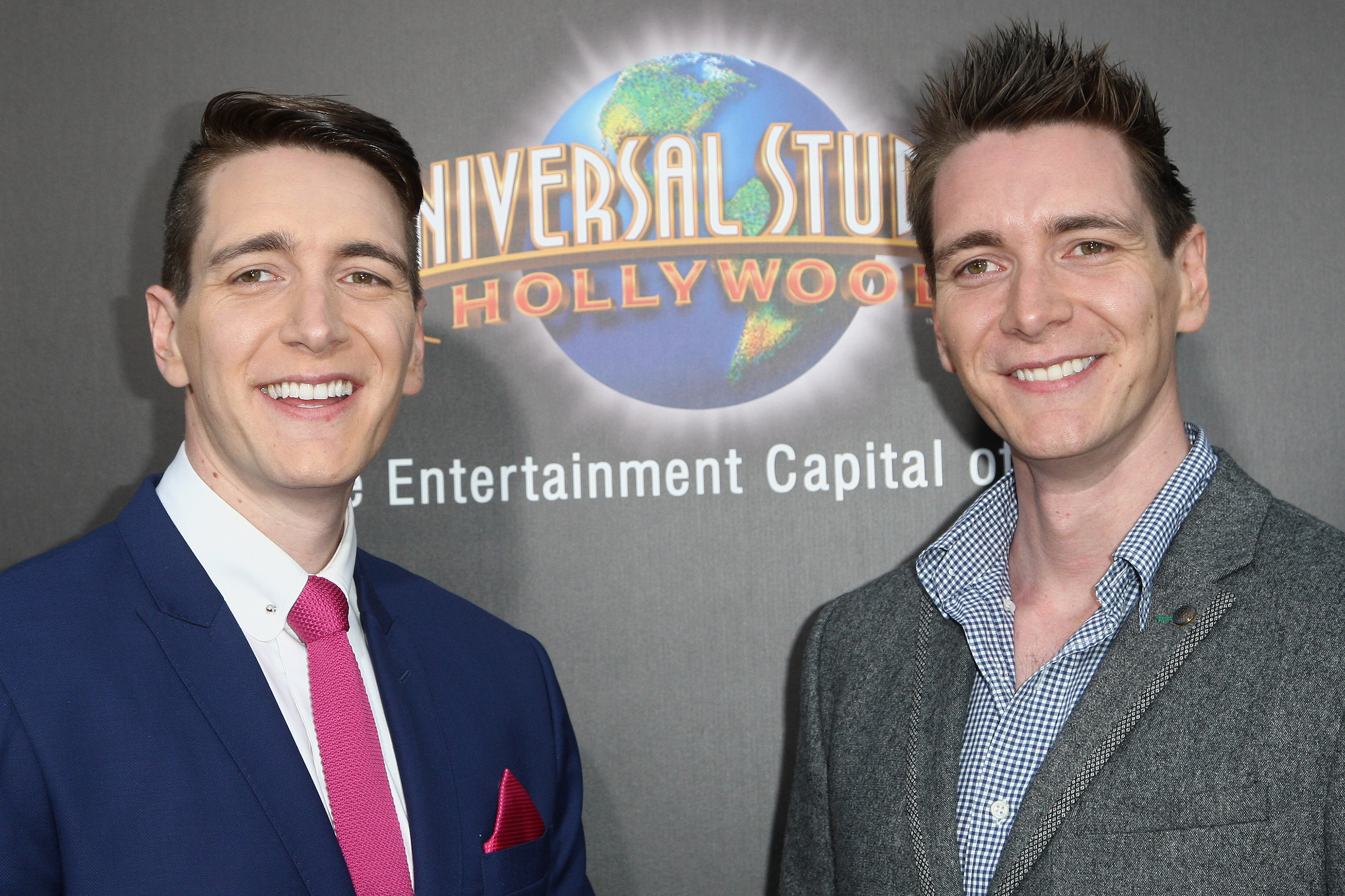 UNIVERSAL CITY, CALIFORNIA - APRIL 05:  Actors Oliver Phelps (L) and James Phelps attend the Universal Studios Hollywood Hosts The Opening Of  The Wizarding World Of Harry Potter  at Universal Studios Hollywood on April 5, 2016 in Universal City, California.  (Photo by Tommaso Boddi/WireImage)