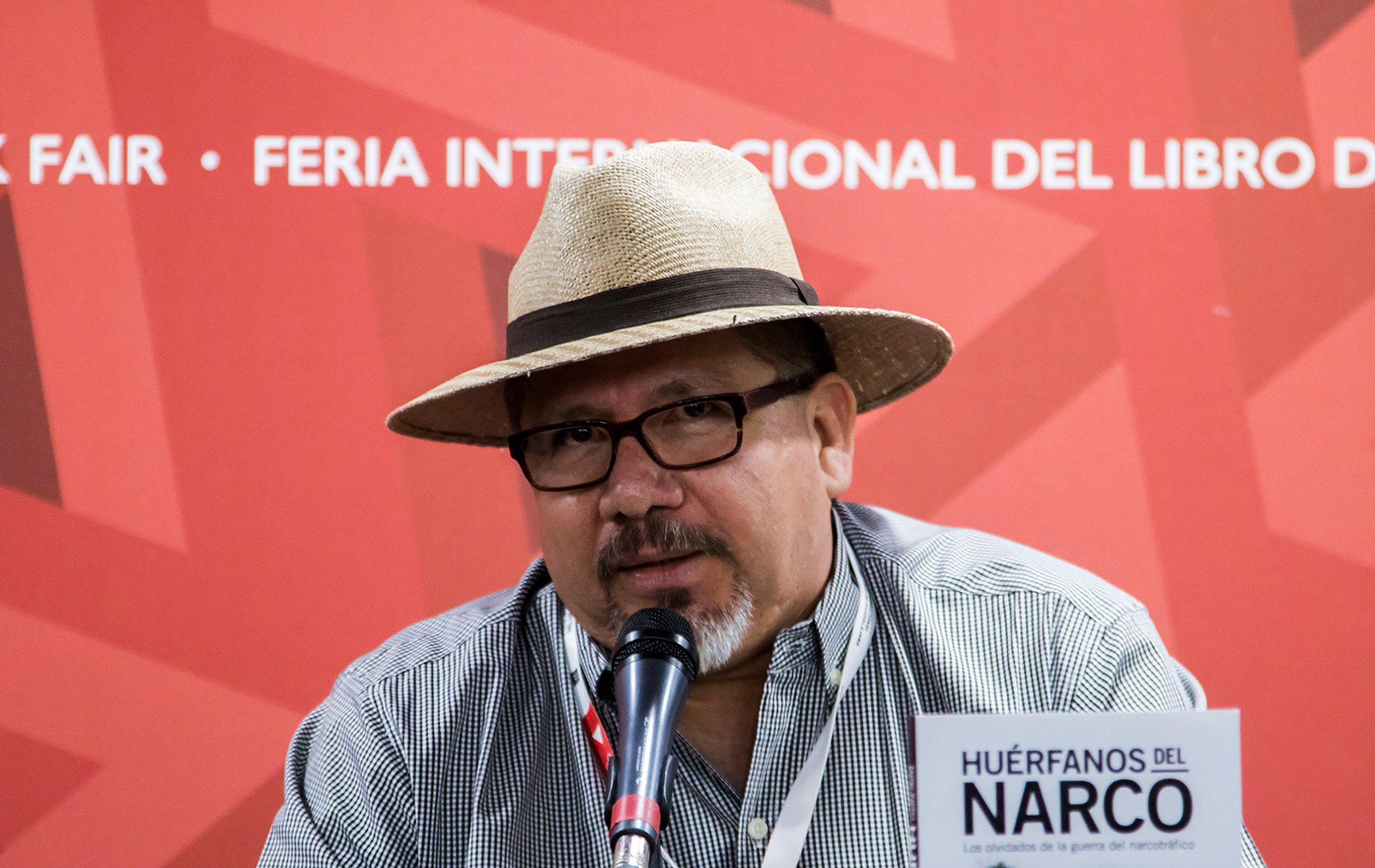 Mexican journalist Javier Valdez speaking during the presentation of his book  Huerfanos del Narco  in the framework of the International Book Fair in Guadalajara, Mexico on Nov. 27, 2016.