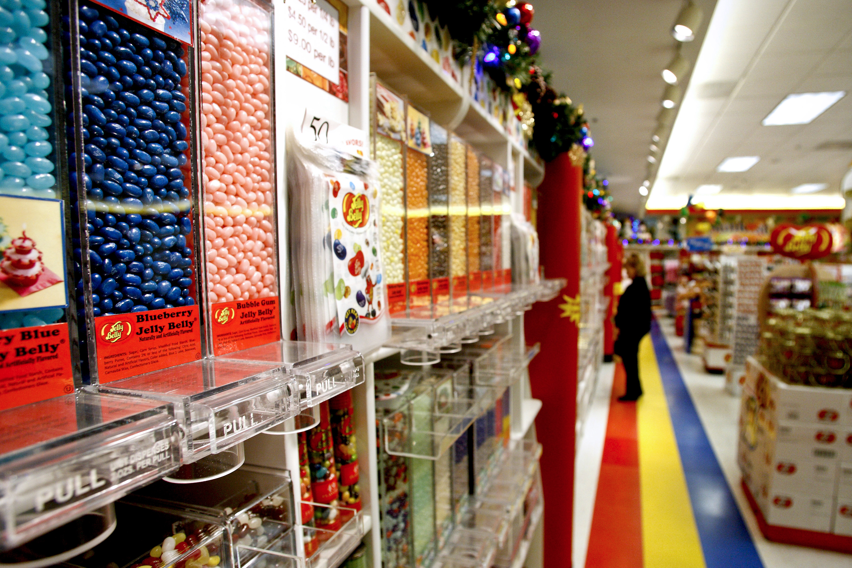Jelly beans sit for sale at the Jelly Belly Candy Co. store next to the company's manufacturing facility in Fairfield, Calif., U.S., on Tuesday, Dec. 14, 2010.