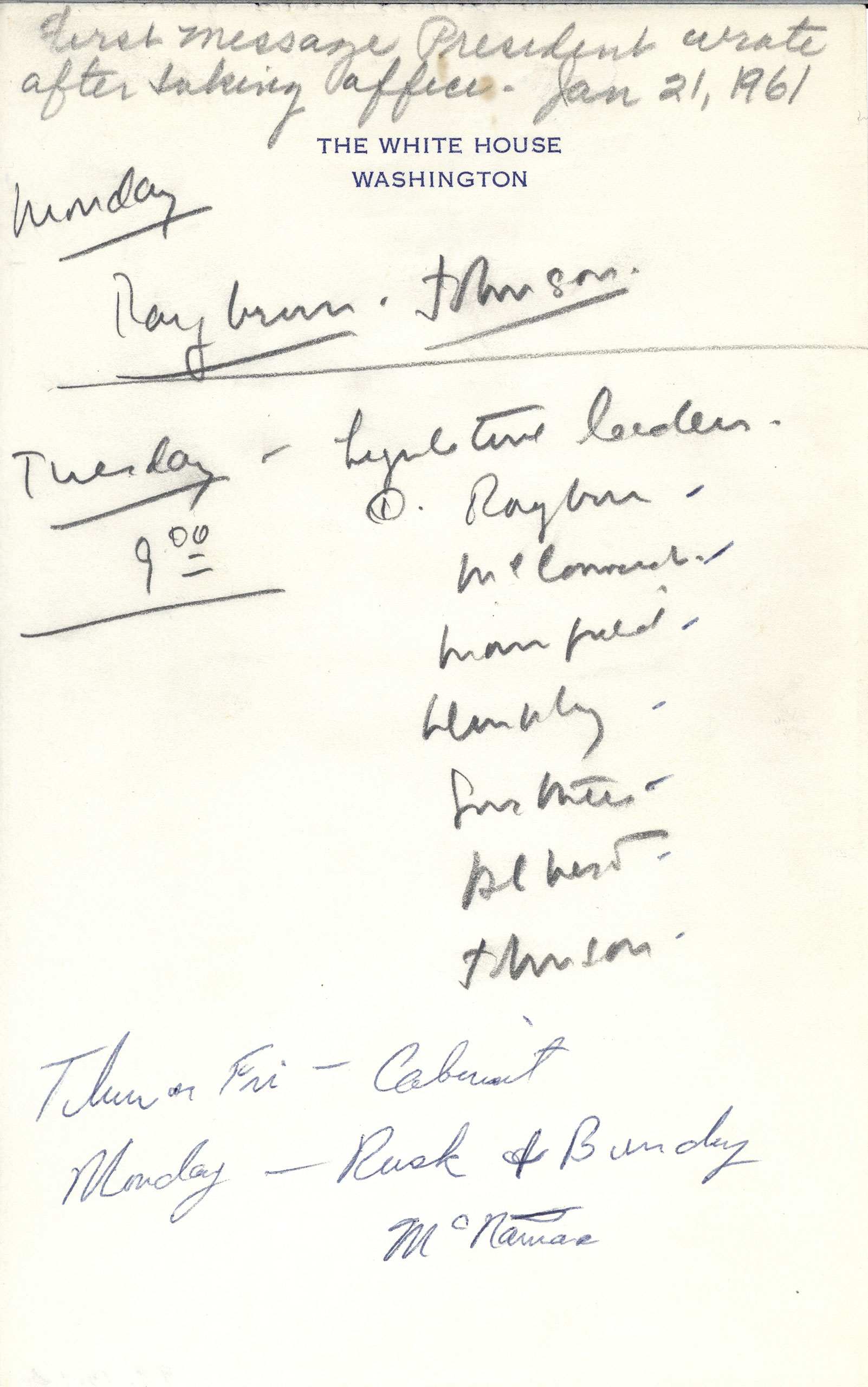 President Kennedy's notes from his first full day as President, Jan. 21, 1961.