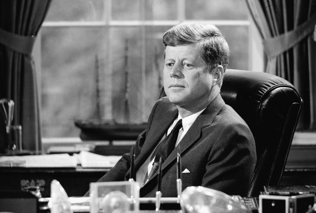 President John F. Kennedy in the Oval Office on May 11, 1962, from a CBS report.