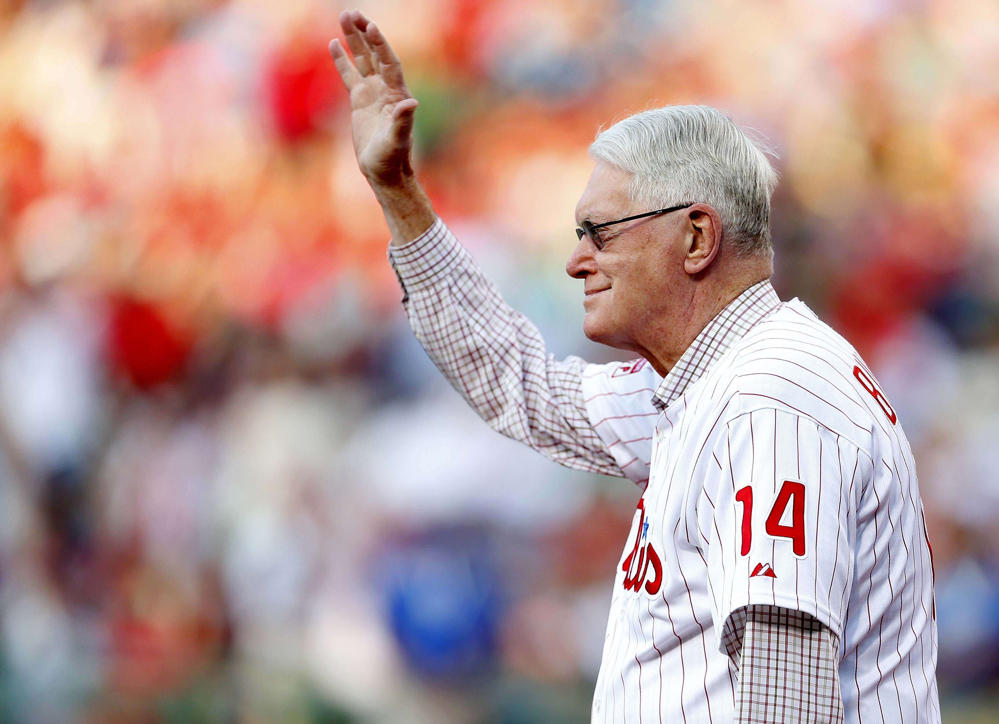 Jim Bunning is introduced during a ceremony at Citizens Bank Park on Aug. 9, 2014 in Philadelphia, PA.