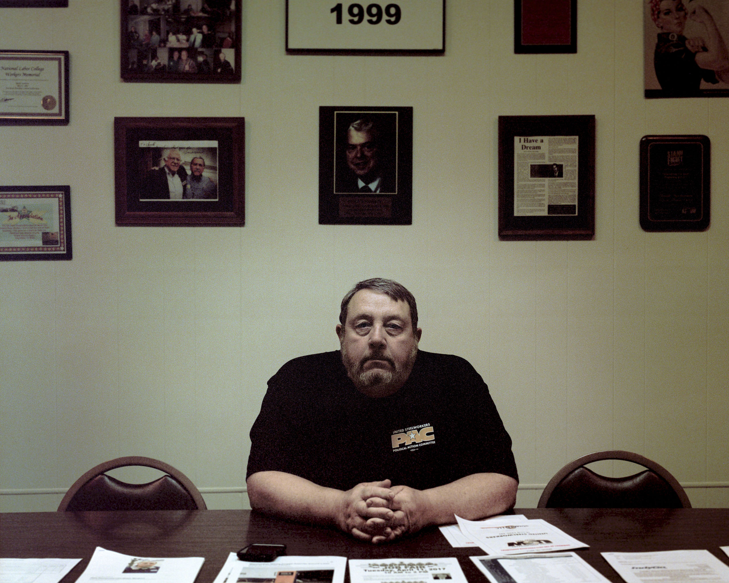 Don Zering, Rexnord's union rep, at the United Steelworkers Local 1999; he's worked at the company for 44 years