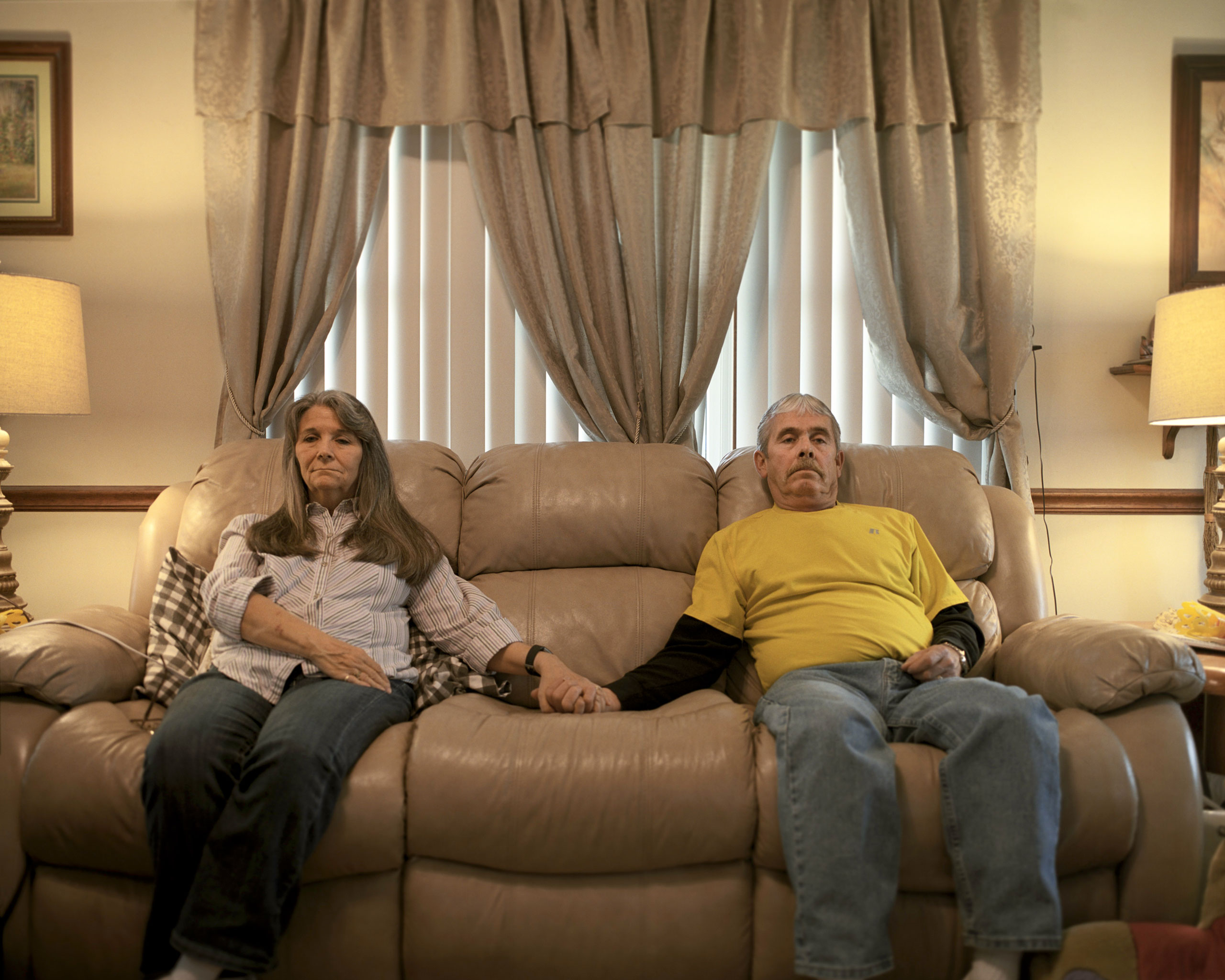 Kyle Beaman and his wife Phyllis, at home in Indianapolis; Beaman, 62, lost his job in April