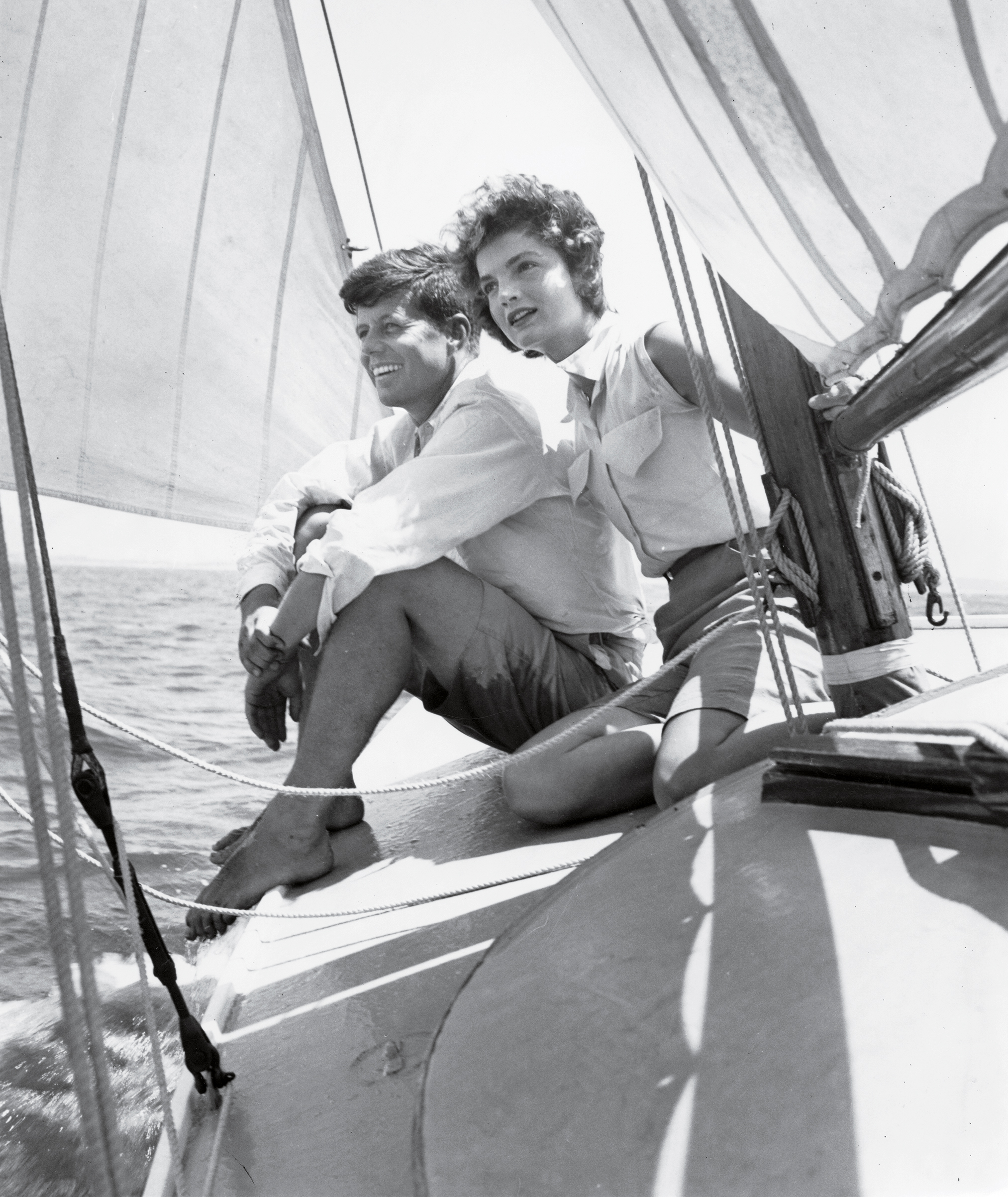 Kennedy and fiancée Jacqueline Bouvier sailing off the coast of Hyannis Port, Mass., in June 1953