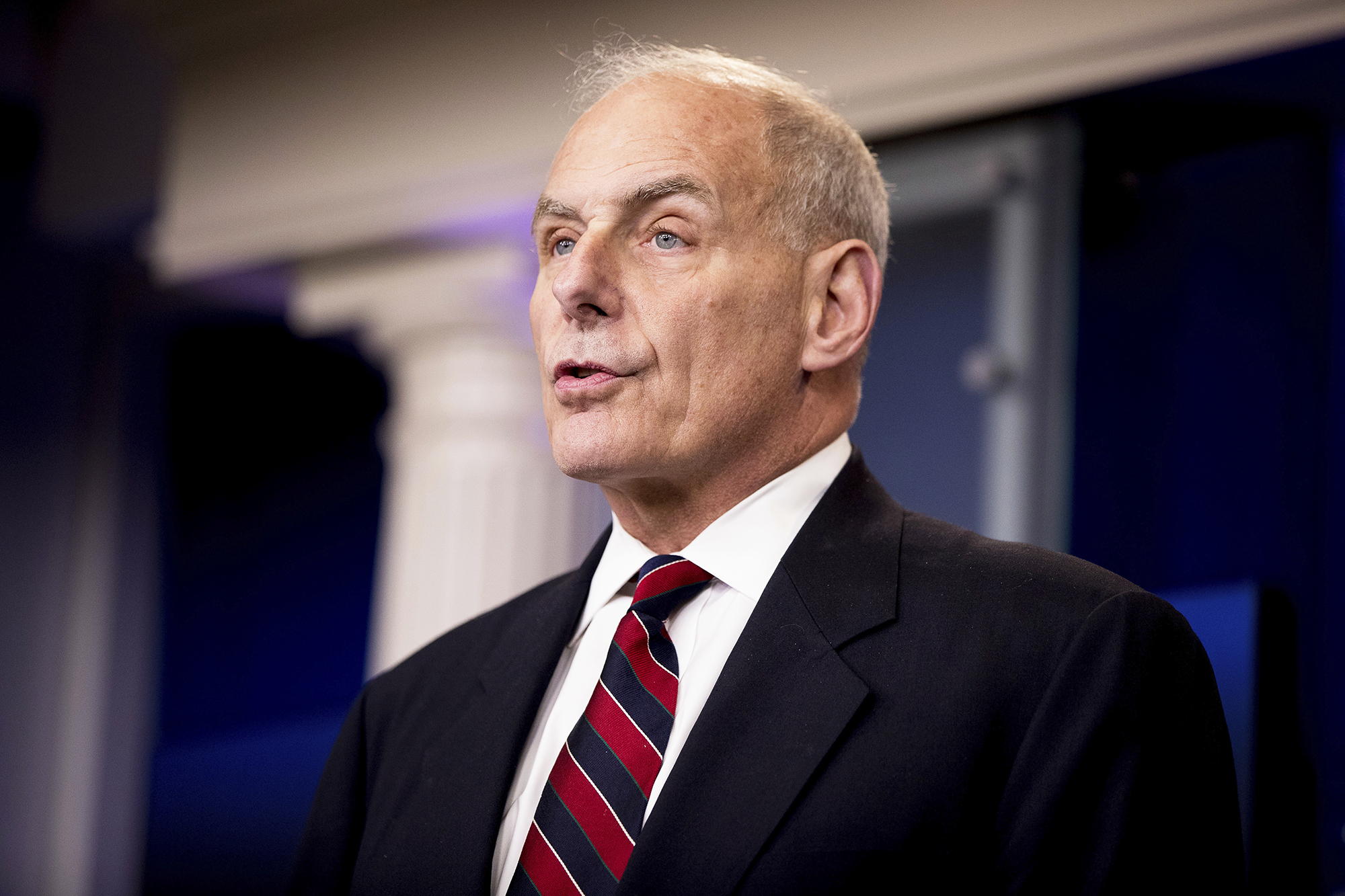 Homeland Security Secretary John Kelly talks to the media during the daily press briefing at the White House in Washington, D.C., on May 2, 2017.