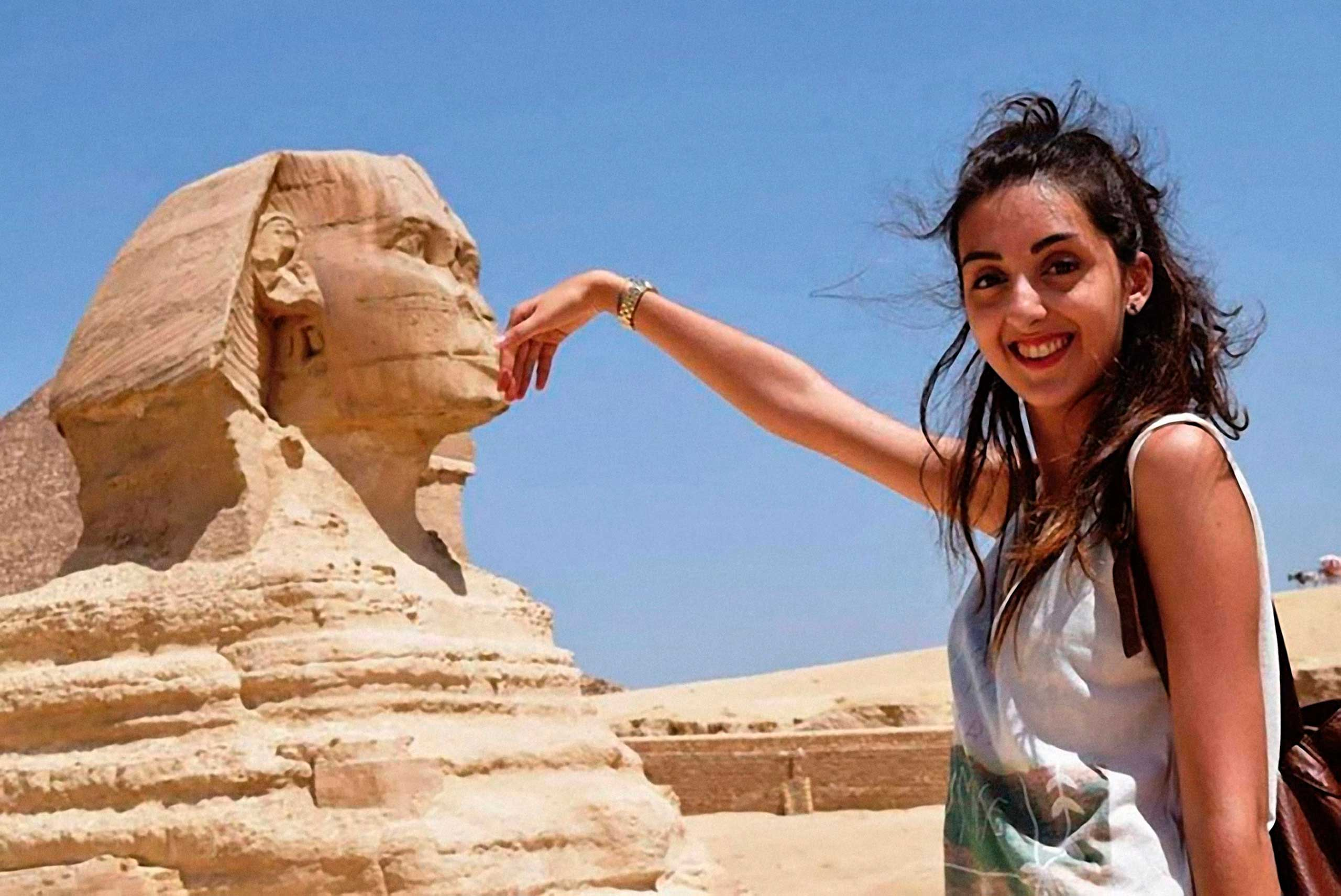 Kiss the Sphinx. Cairo, Egypt, year unknown.