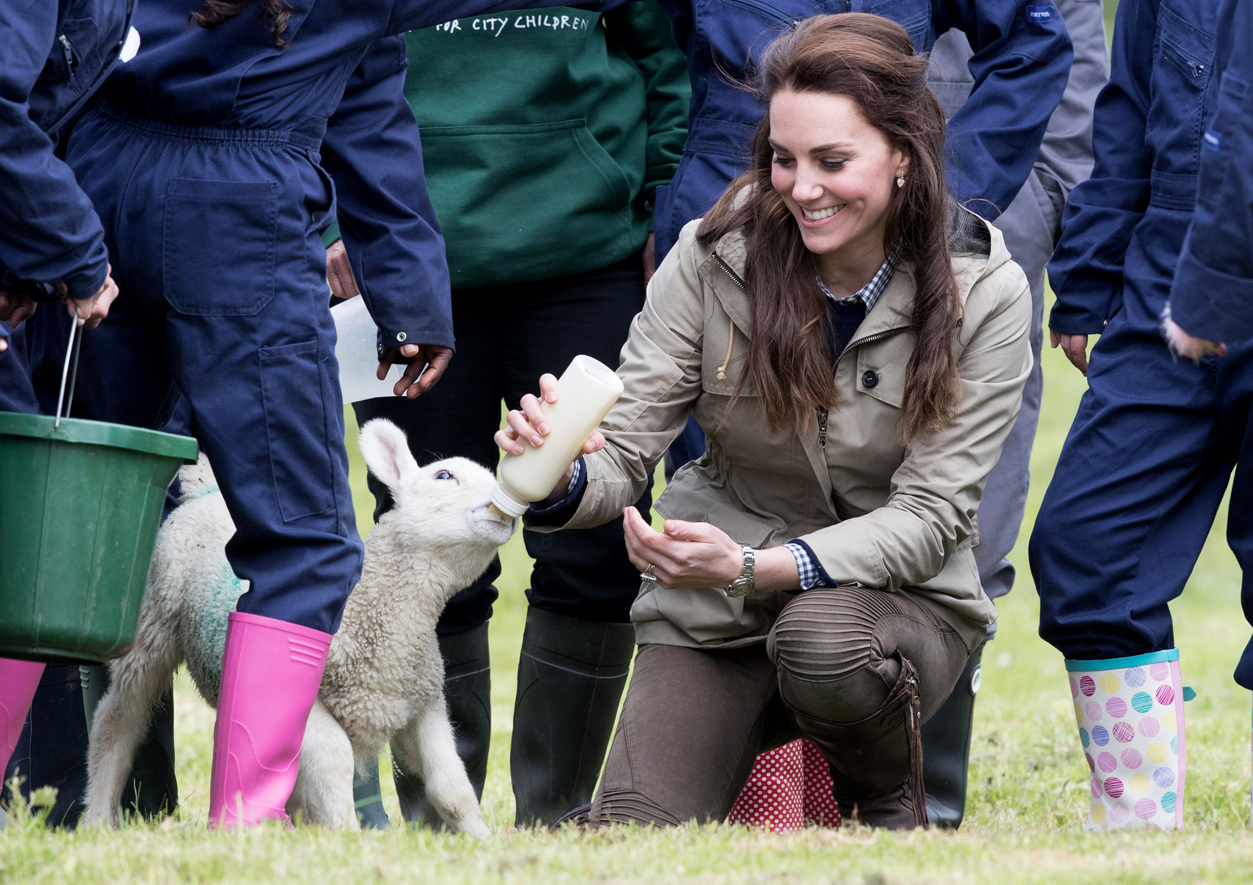 Catherine, Duchess of Cambridge feeds  Stinky  the lamb during a visit to Author Michael Morpurgo's Farms for City Children in Arlingham, Gloucestershire, on May 3, 2017.
