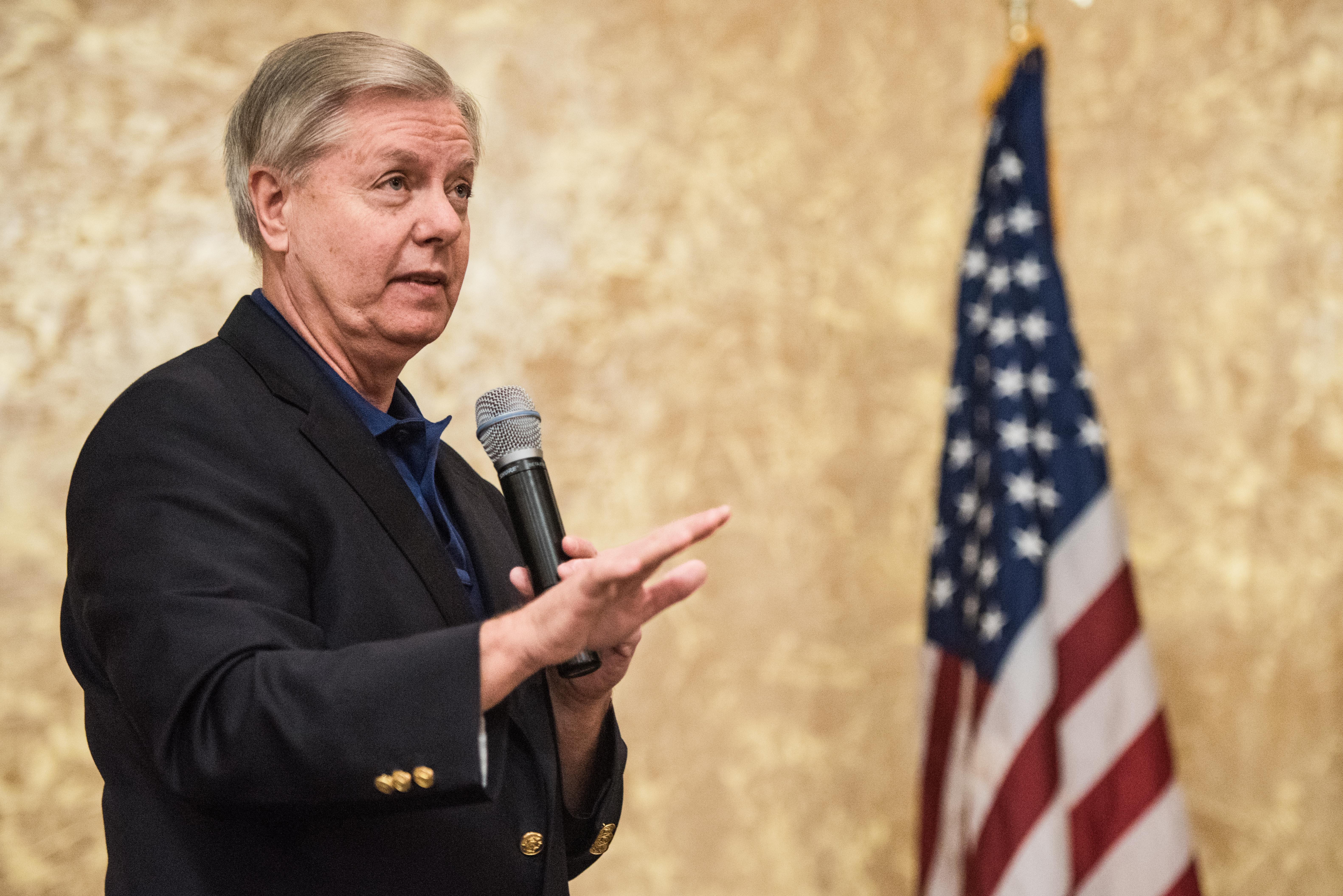 Sen. Lindsey Graham addresses constituents during a town hall meeting March 25, 2017 in Columbia, South Carolina.