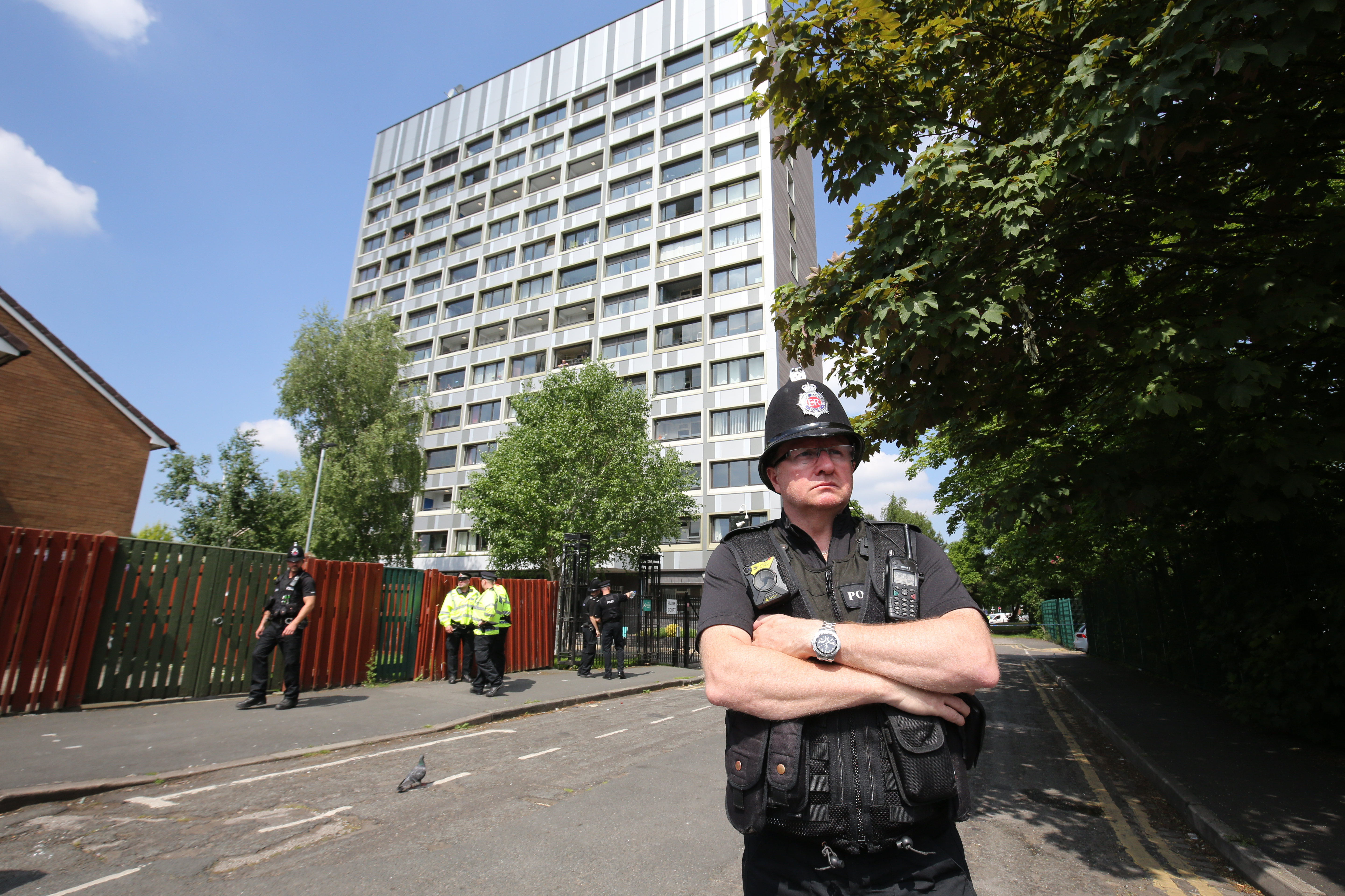 Police seal off Lindy Road, Hulme Manchester as the Manchester attack investigation continues on May 25, 2017 in Manchester, England.