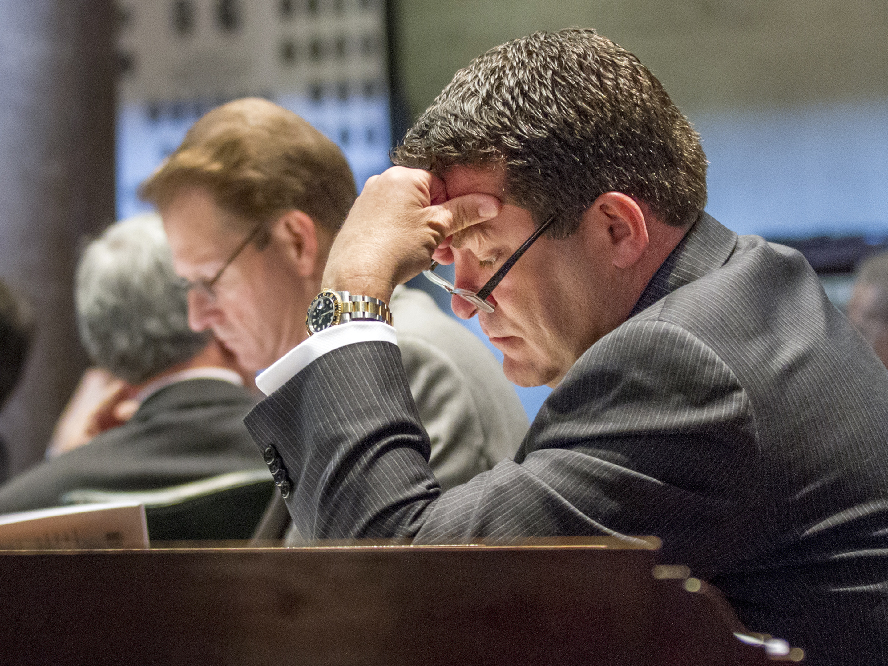 Mark Green sits at his desk in the Senate chamber in Nashville, Tenn., on April 17, 2013.