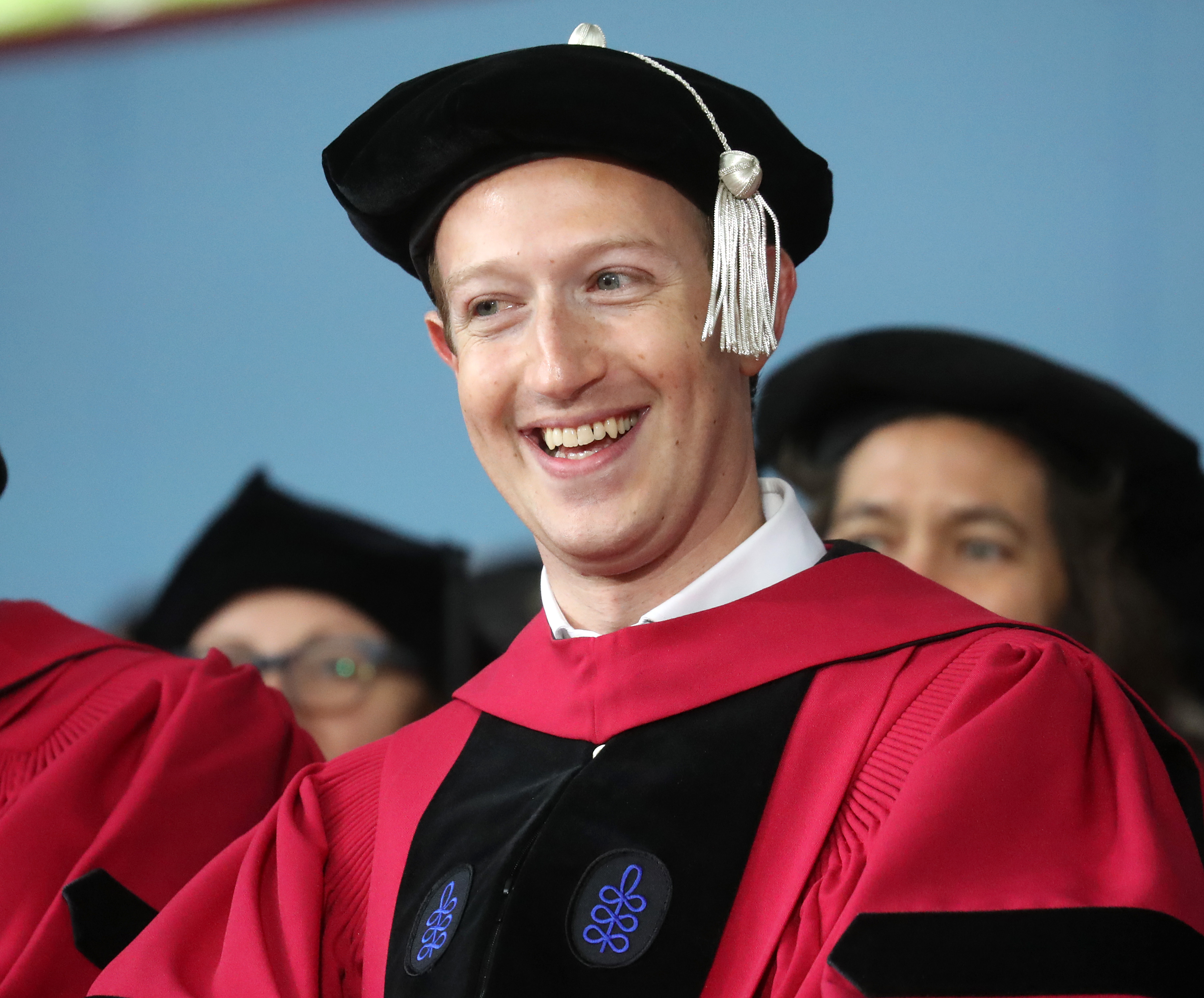 Mark Zuckerberg, Harvard dropout and CEO of Facebook, a company worth nearly $400 billion, is pictured at the Harvard University commencement in Cambridge, MA on May 25, 2017.