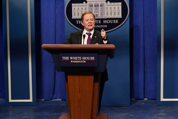 Melissa McCarthy as Press Secretary Sean Spicer during the 'Sean Spicer Press Conference Cold Open' on Feb. 11, 2017.