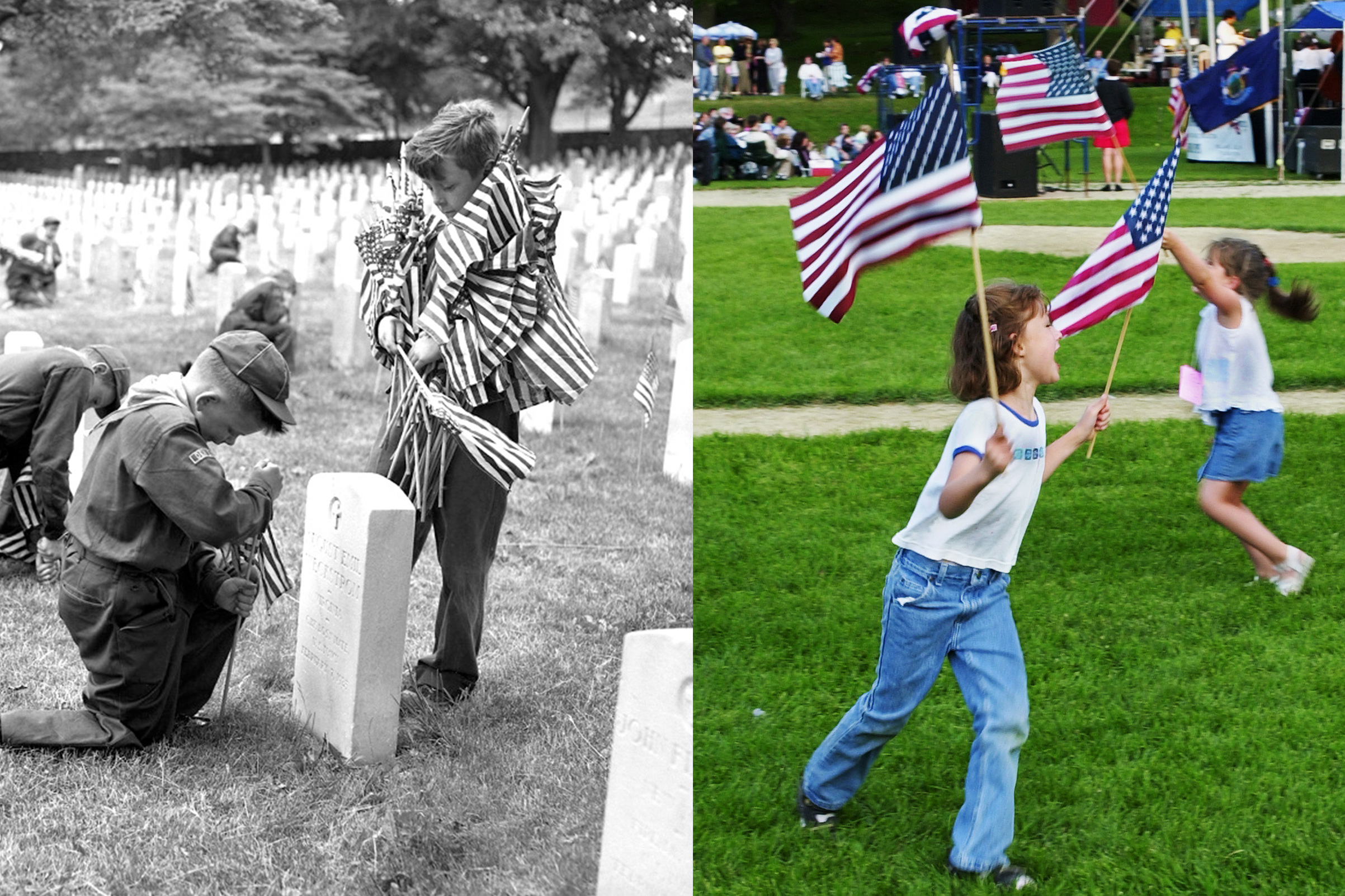 (L-R): Boy Scouts decorating graves for Memorial Day, 1955; Two young girls running around with American Flags from Memorial Day, 2001.