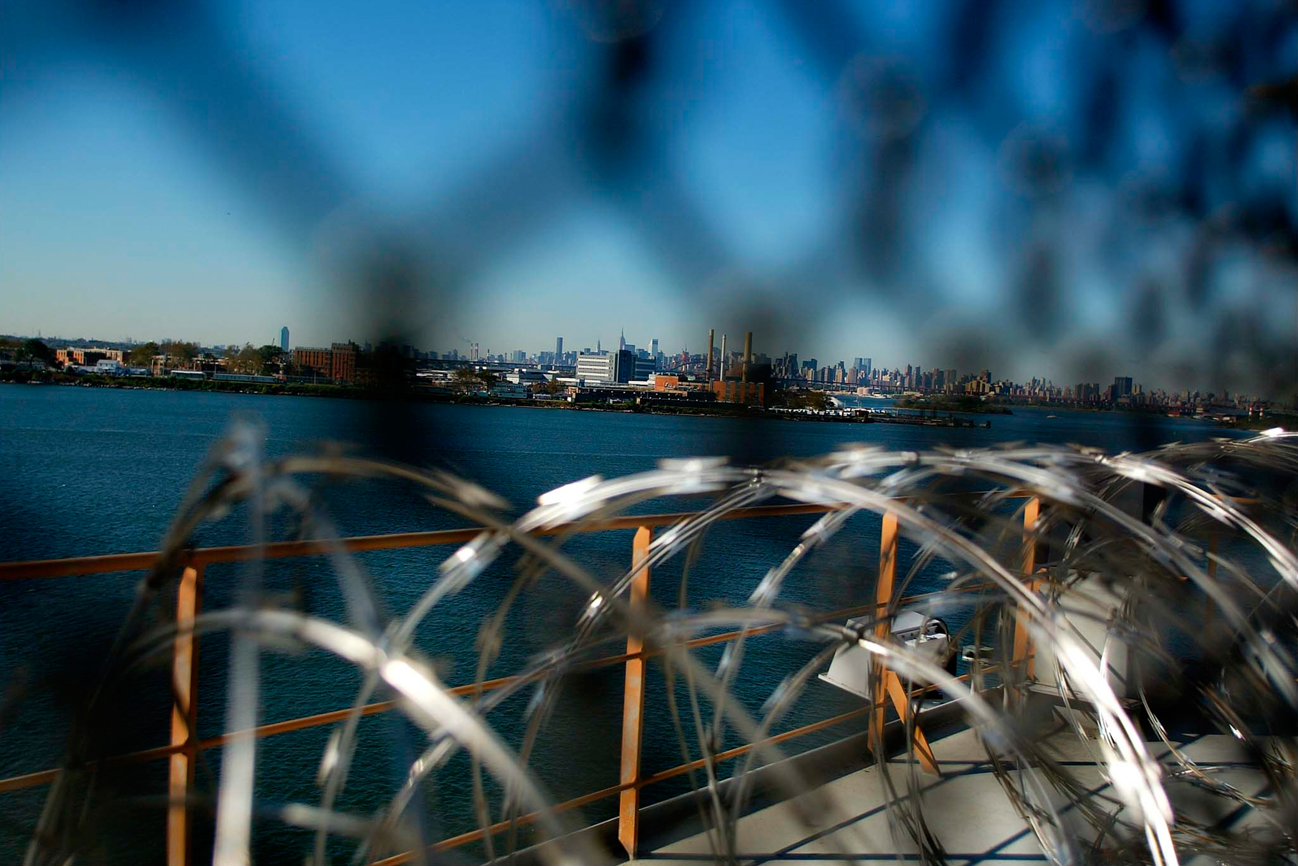 View of Manhattan from the Vernon C. Bain Correctional Center at Rikers Island, in the Bronx.