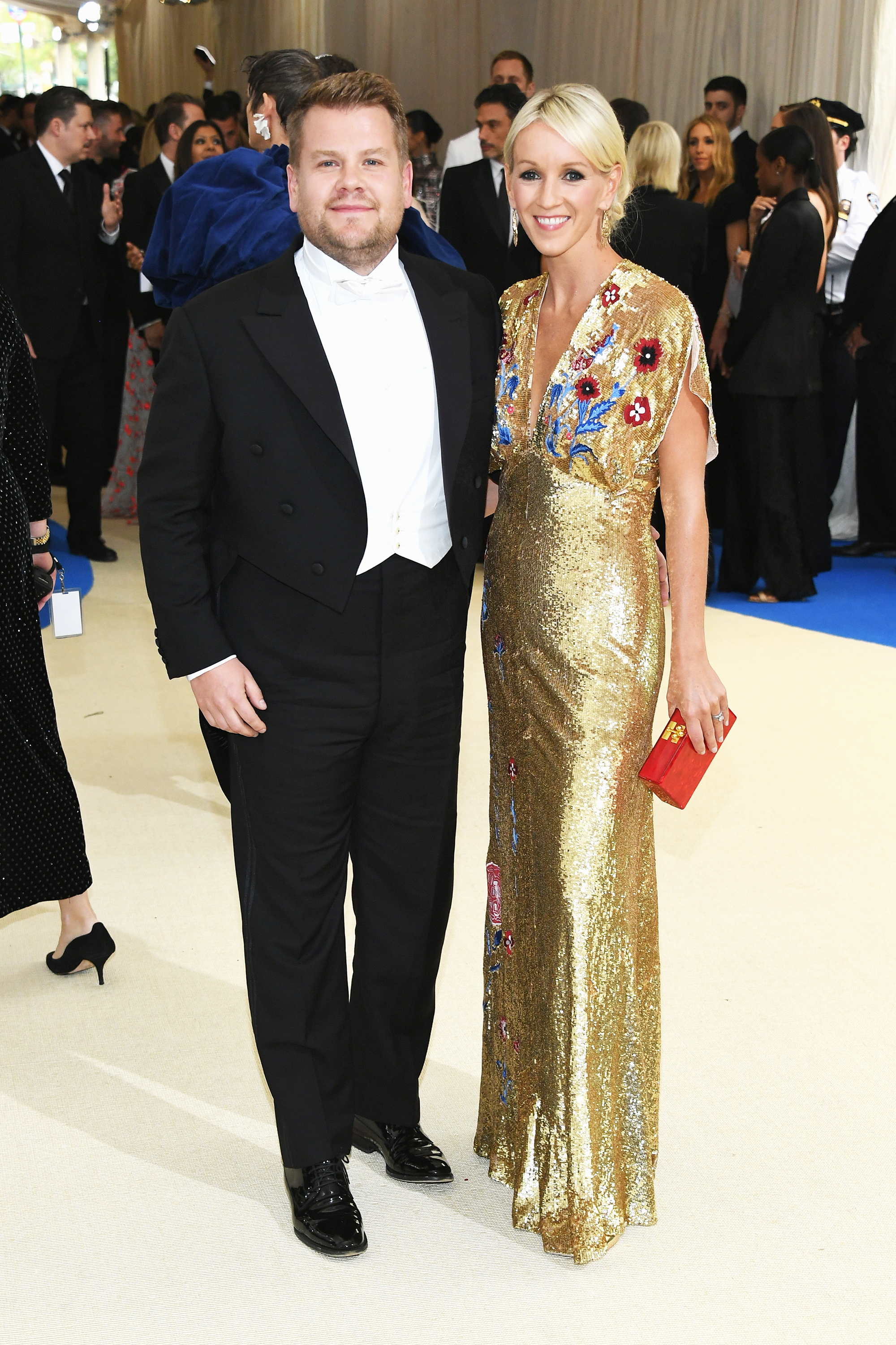 James Corden and Julia Carey attend The Metropolitan Museum of Art's Costume Institute benefit gala celebrating the opening of the Rei Kawakubo/Comme des Garçons: Art of the In-Between exhibition in New York City, on May 1, 2017.