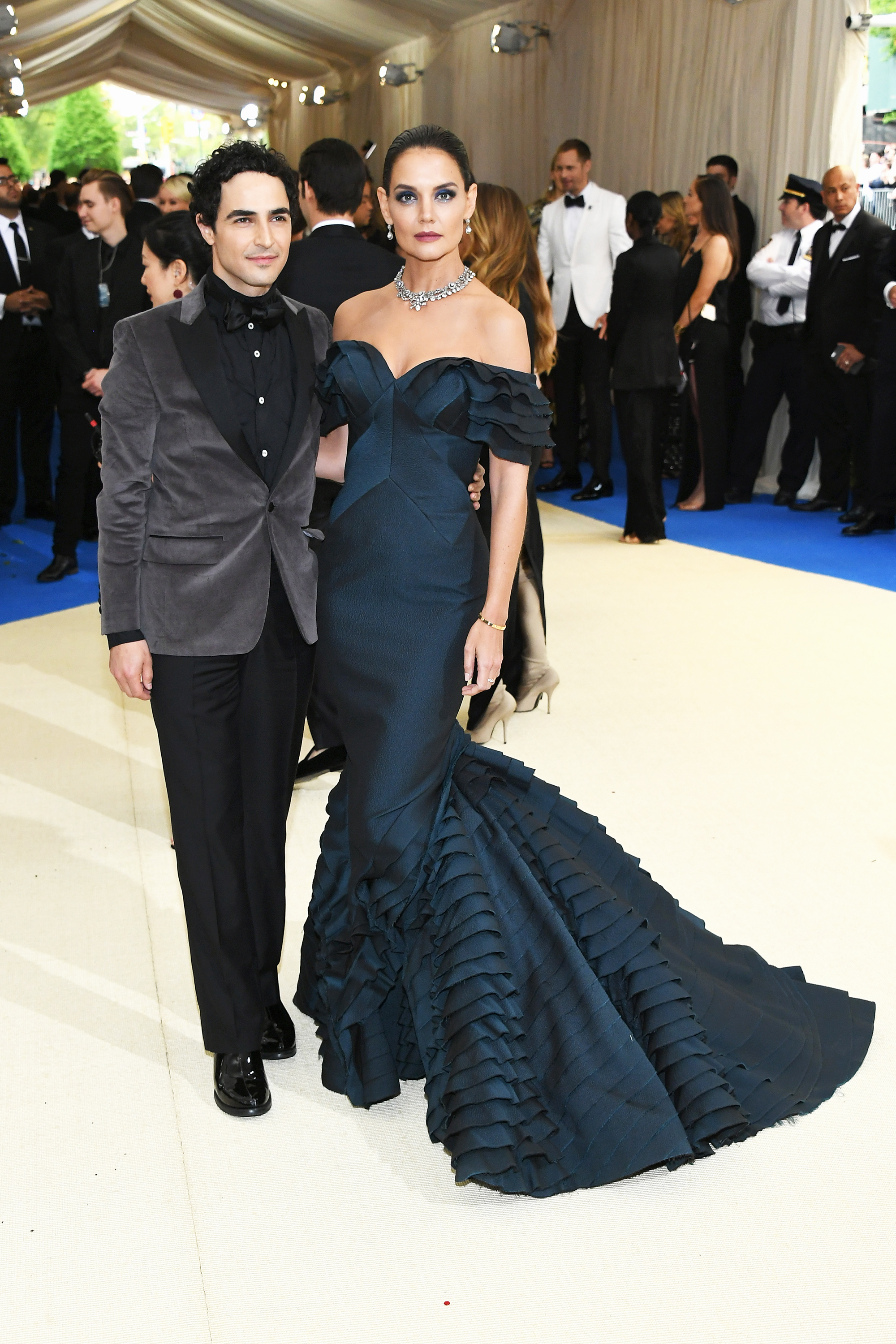 Zac Posen and Katie Holmes attends The Metropolitan Museum of Art's Costume Institute benefit gala celebrating the opening of the Rei Kawakubo/Comme des Garçons: Art of the In-Between exhibition in New York City, on May 1, 2017.