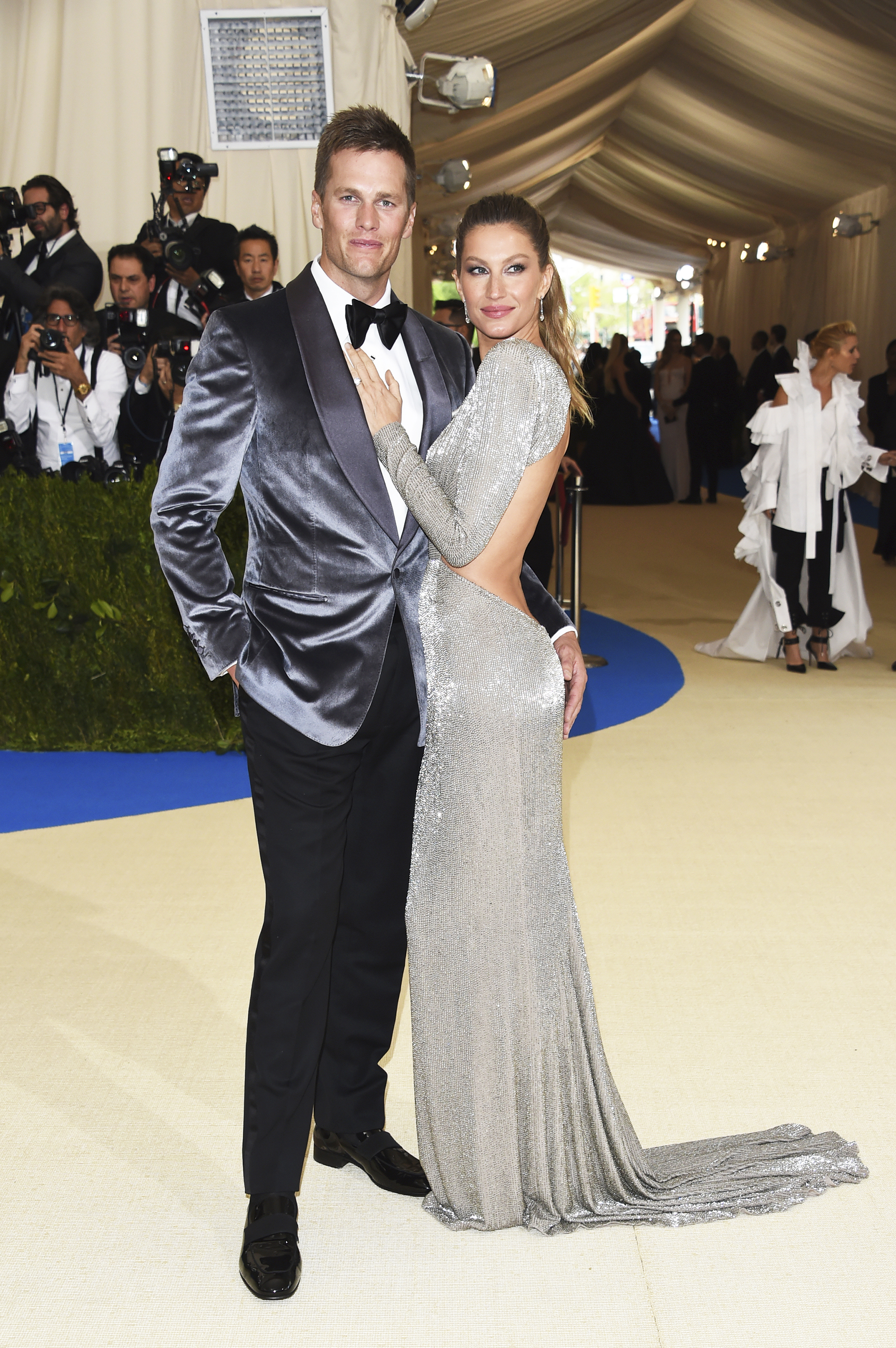 Tom Brady, left, and Gisele Bundchen attend The Metropolitan Museum of Art's Costume Institute benefit gala celebrating the opening of the Rei Kawakubo/Comme des Garçons: Art of the In-Between exhibition in New York City, on May 1, 2017.