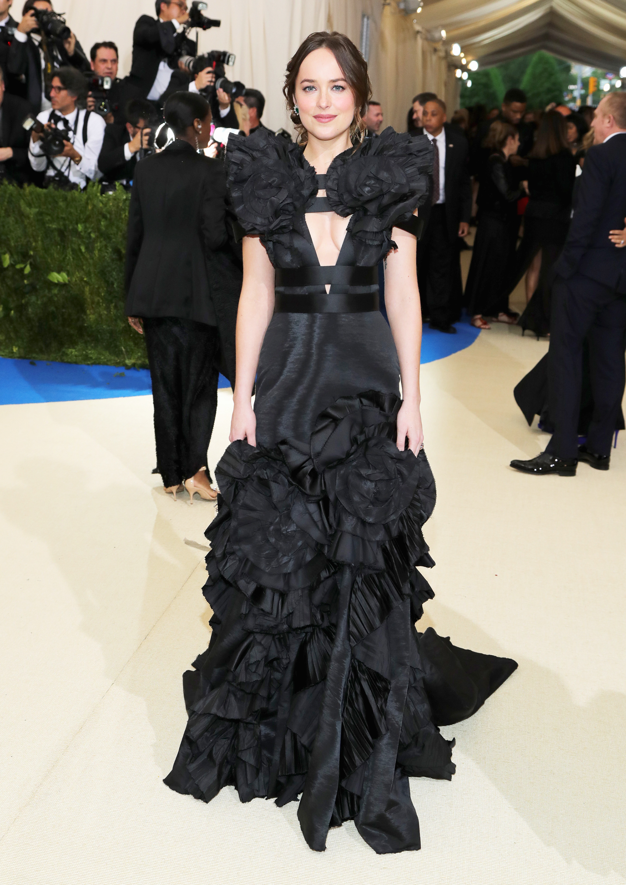 Dakota Johnson attends The Metropolitan Museum of Art's Costume Institute benefit gala celebrating the opening of the Rei Kawakubo/Comme des Garçons: Art of the In-Between exhibition in New York City, on May 1, 2017.