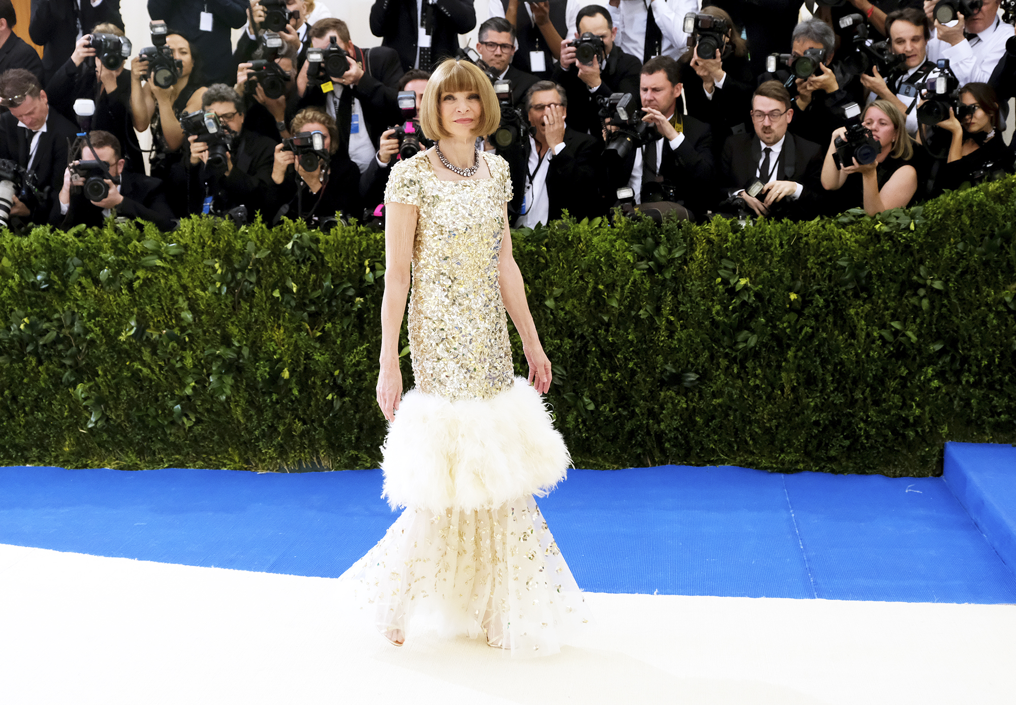 Anna Wintour attends The Metropolitan Museum of Art's Costume Institute benefit gala celebrating the opening of the Rei Kawakubo/Comme des Garçons: Art of the In-Between exhibition in New York City, on May 1, 2017.