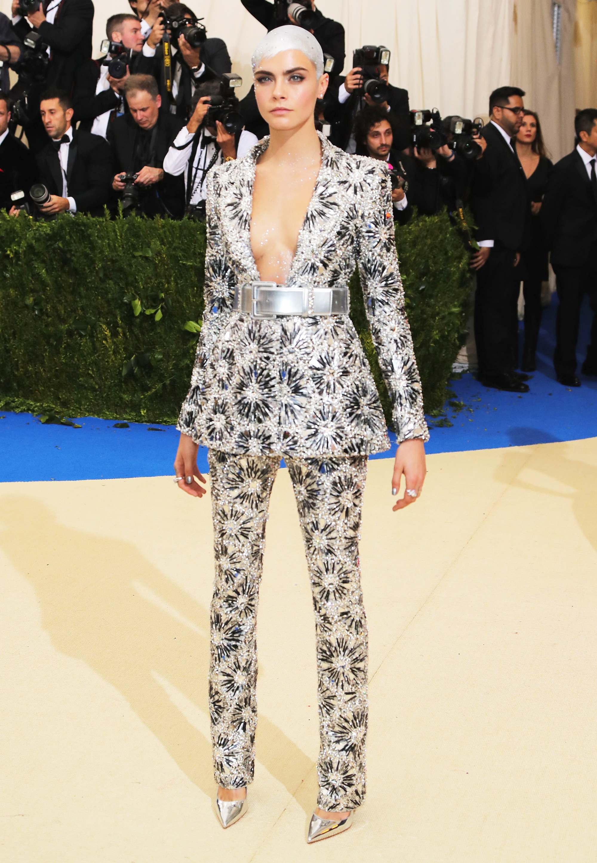 Cara Delevingne attends The Metropolitan Museum of Art's Costume Institute benefit gala celebrating the opening of the Rei Kawakubo/Comme des Garçons: Art of the In-Between exhibition in New York City, on May 1, 2017.