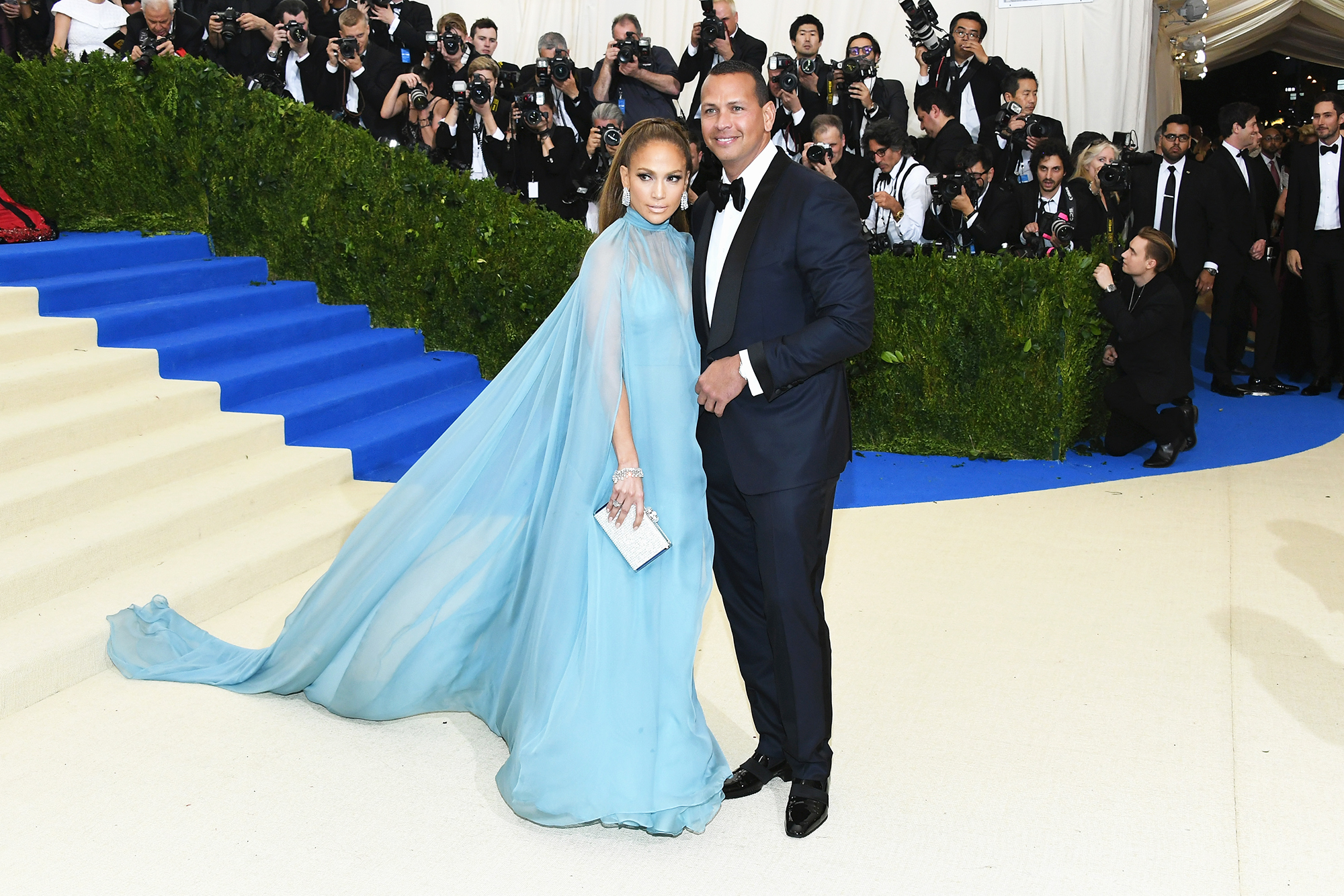 Jennifer Lopez and Alex Rodriguez attend The Metropolitan Museum of Art's Costume Institute benefit gala celebrating the opening of the Rei Kawakubo/Comme des Garçons: Art of the In-Between exhibition in New York City, on May 1, 2017.