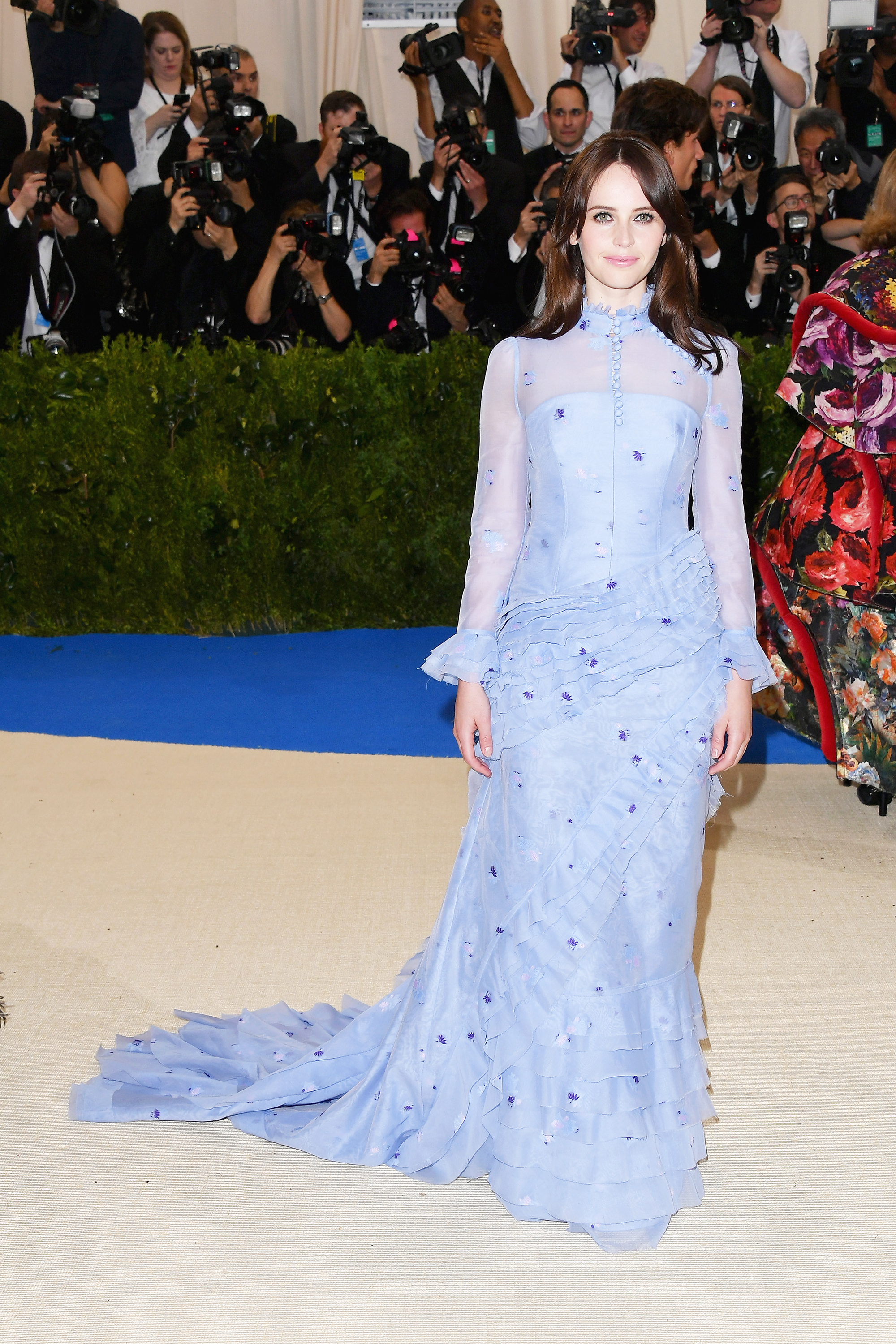 Felicity Jones attends The Metropolitan Museum of Art's Costume Institute benefit gala celebrating the opening of the Rei Kawakubo/Comme des Garçons: Art of the In-Between exhibition in New York City, on May 1, 2017.