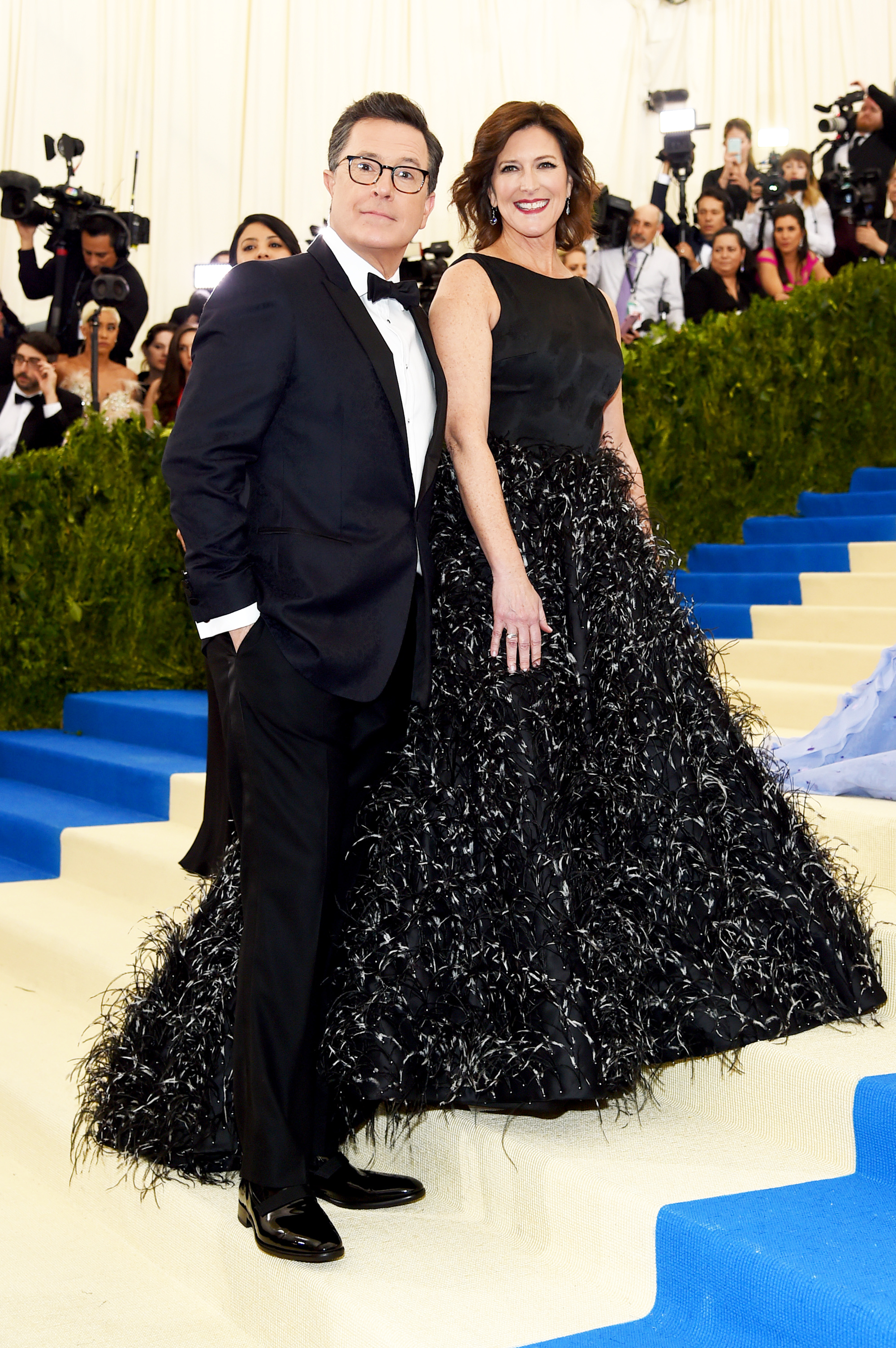 Stephen Colbert and Evelyn McGee attend The Metropolitan Museum of Art's Costume Institute benefit gala celebrating the opening of the Rei Kawakubo/Comme des Garçons: Art of the In-Between exhibition in New York City, on May 1, 2017.